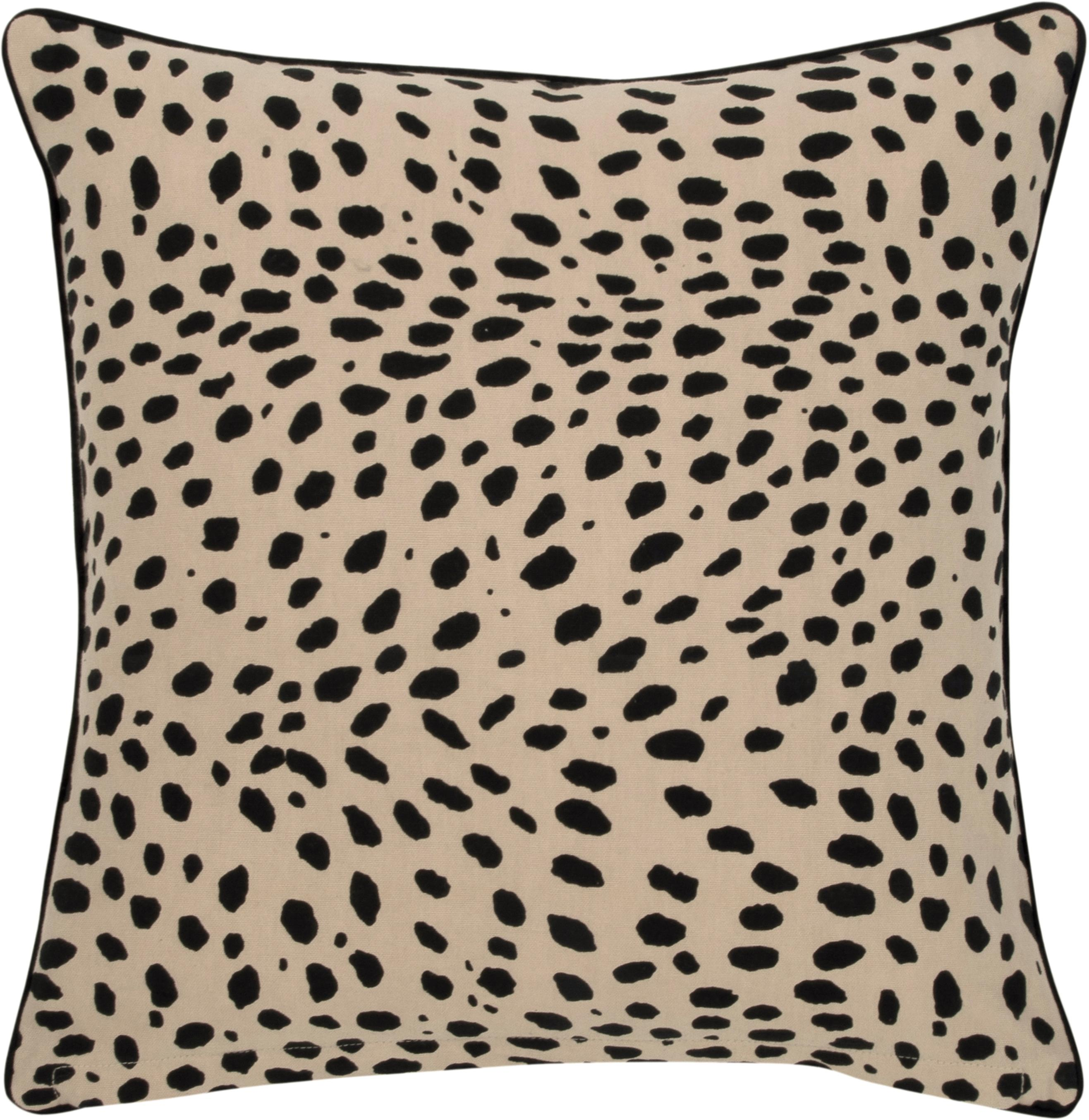 Kissenhülle Leopard mit schwarzem Keder, 100% Baumwolle, Beige, Schwarz, 45 x 45 cm