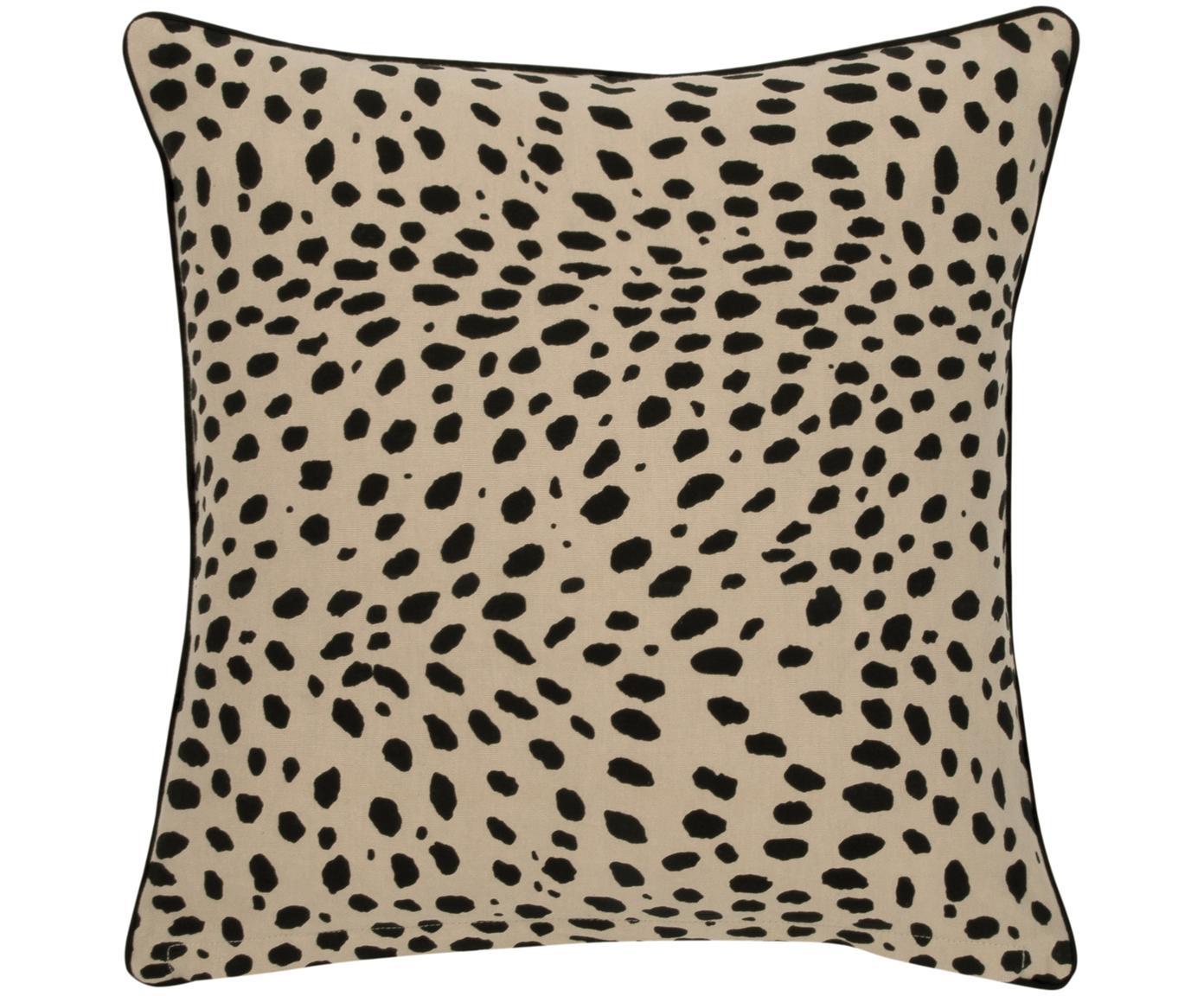 Funda de cojín Leopard, Algodón, Beige, negro, An 45 x L 45 cm