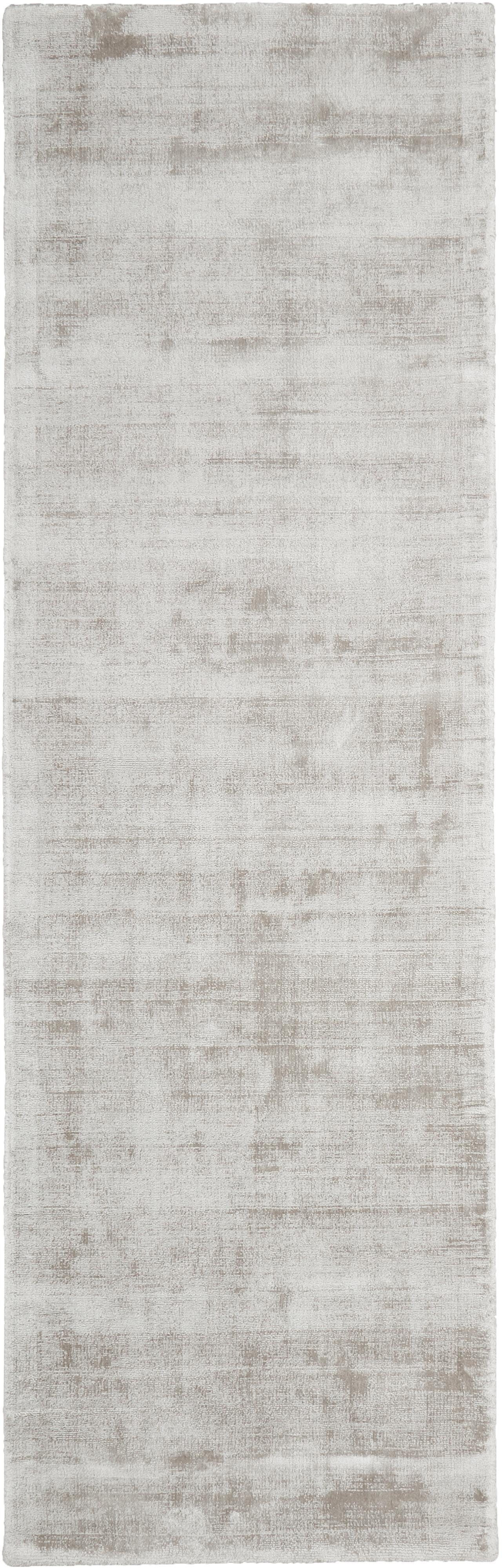 Alfombra artesanal de viscosa Jane, Parte superior: 100%viscosa, Reverso: 100%algodón, Gris claro, beige, An 80 x L 250 cm