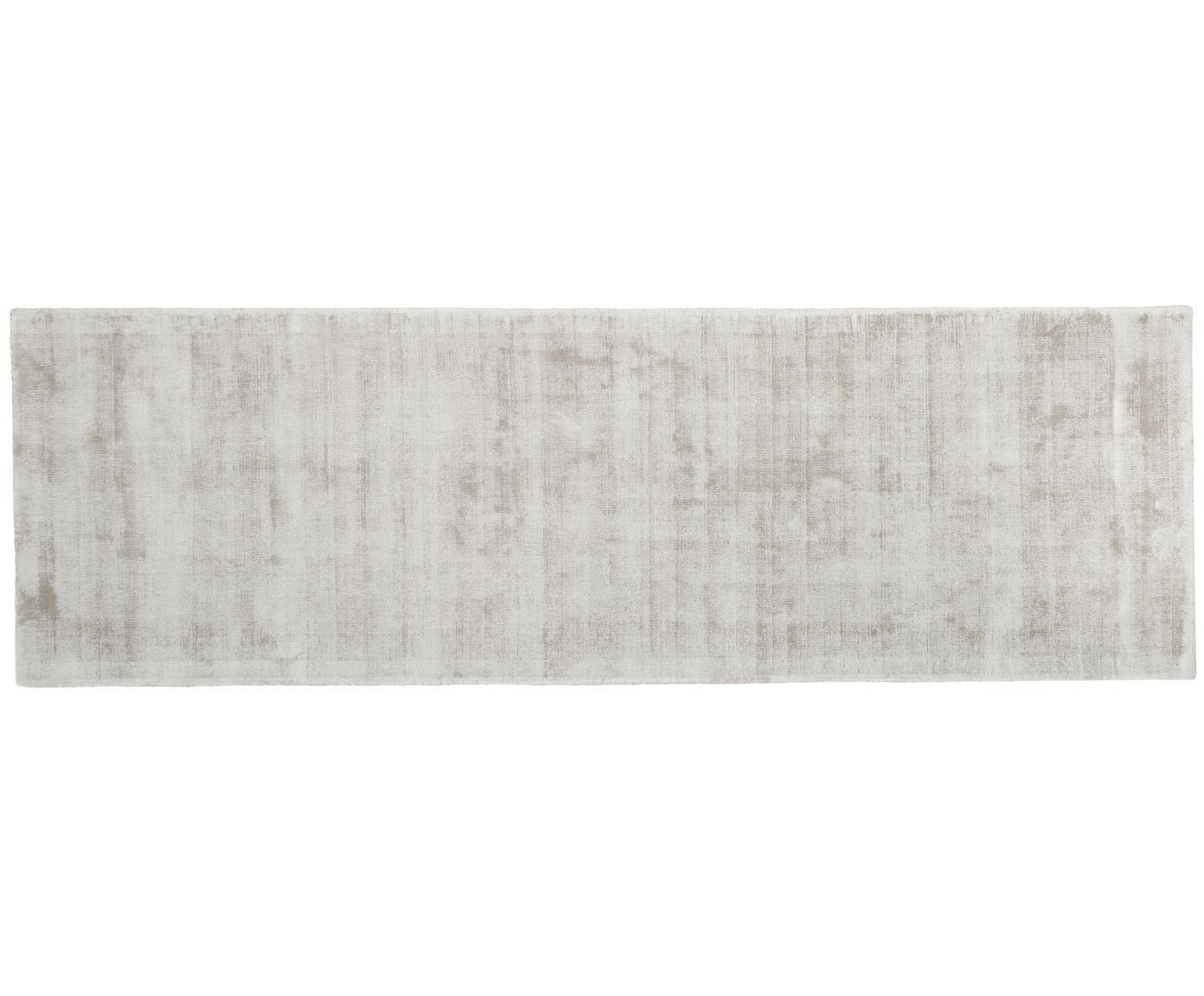 Handgeweven viscose loper Jane, Bovenzijde: 100% viscose, Onderzijde: 100% katoen, Lichtgrijs, 80 x 250 cm