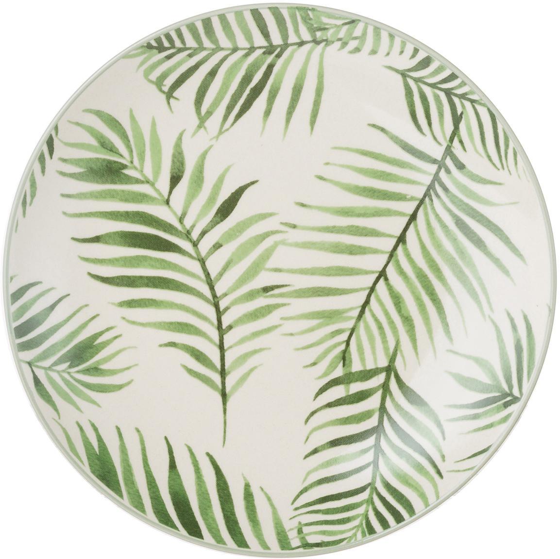 Platos postre Jade, 4uds., Gres, Beige, verde, Ø 20 cm