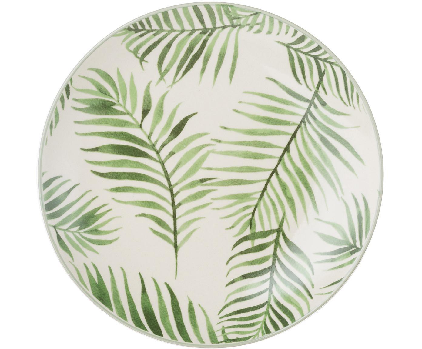 Piatto da colazione con motivo tropicale Jade 4 pz, Terracotta, Beige, verde, Ø 20 cm
