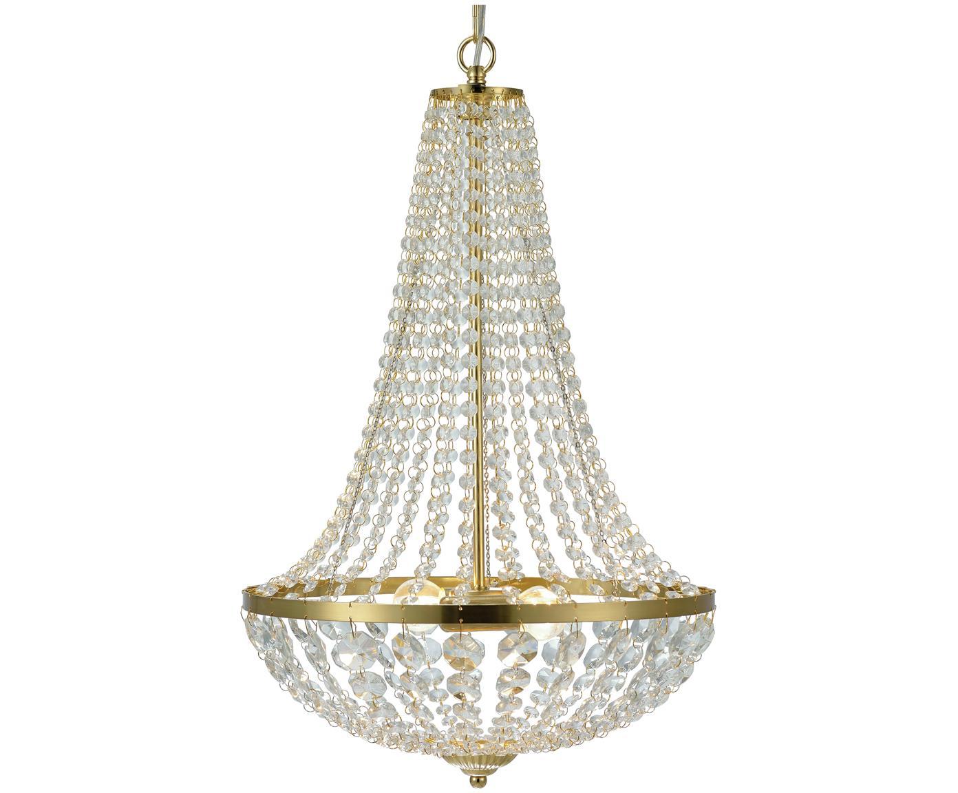Lámpara de araña Gränsö, Latón, transparente, Ø 40 x Al 59 cm