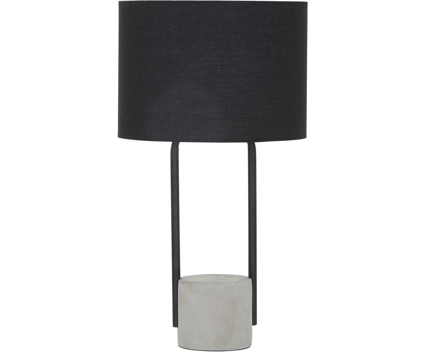 Lámpara de mesa Pipero, Pantalla: tela, Cable: cubierto en tela, Negro, gris, Ø 28 x Al 51 cm