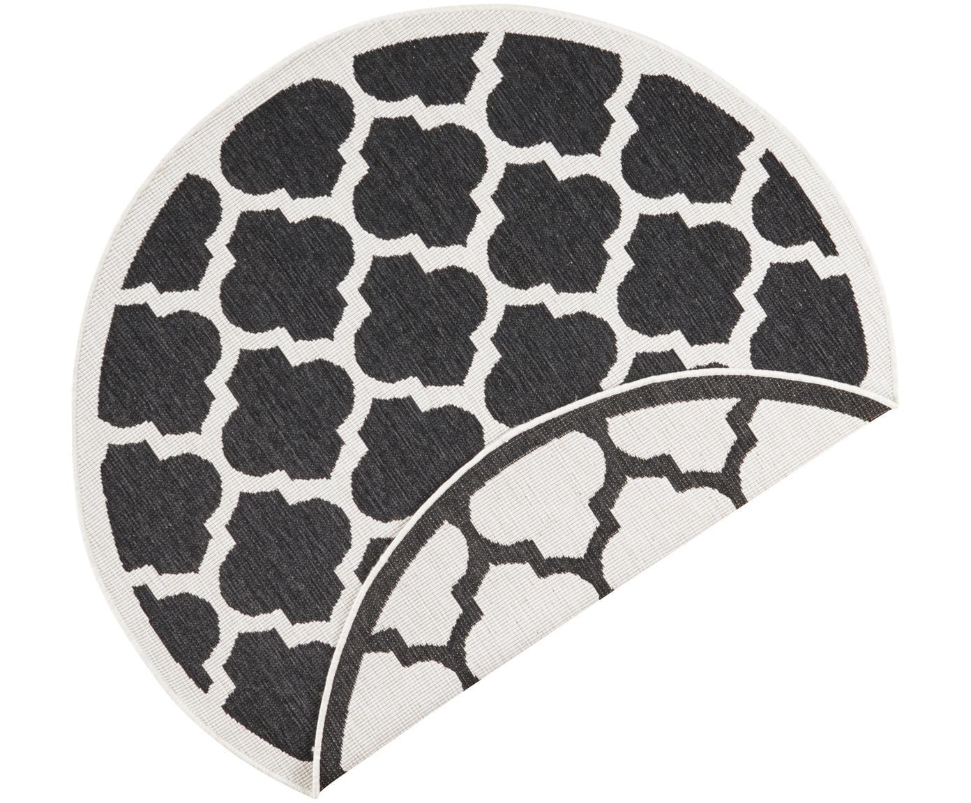 Alfombra redonda reversible de interior/exterior Palermo, Negro, crema, Ø 140 cm (Tamaño M)