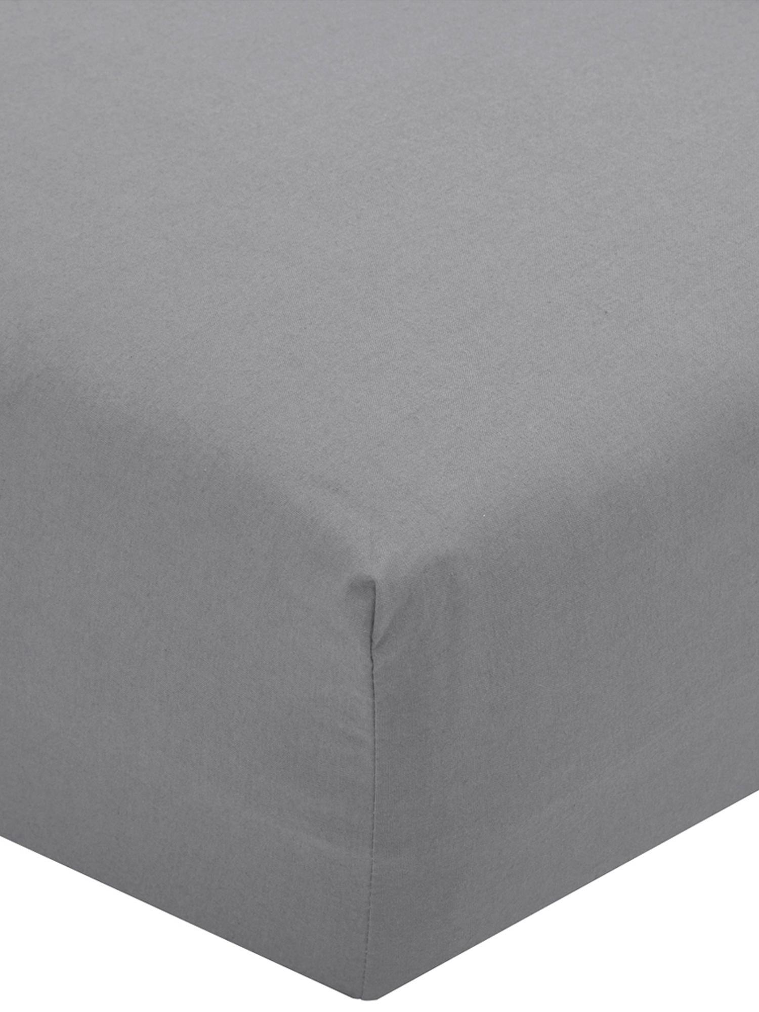 Sábana bajera de percal Elsie, Gris oscuro, Cama 150 cm (160 x 200 cm)