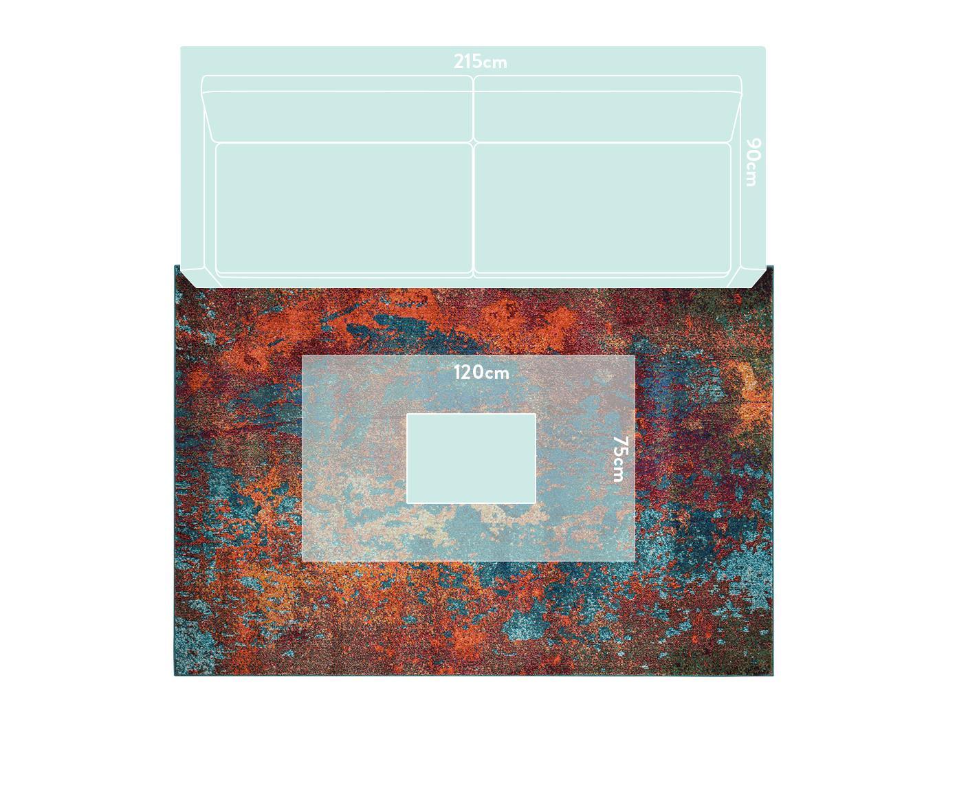Alfombra de diseño Celestial, Parte superior: 100%polipropileno, Reverso: yute, Rojo, azul, verde, An 160 x L 220 cm (Tamaño M)
