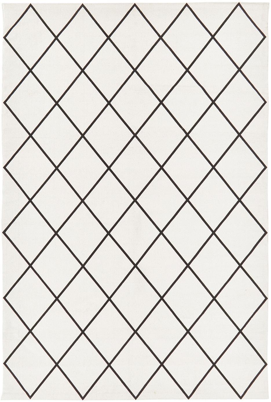 Dywan z bawełny Farah, 100% bawełna, Kremowobiały, czarny, S 120 x D 180 cm (Rozmiar S)