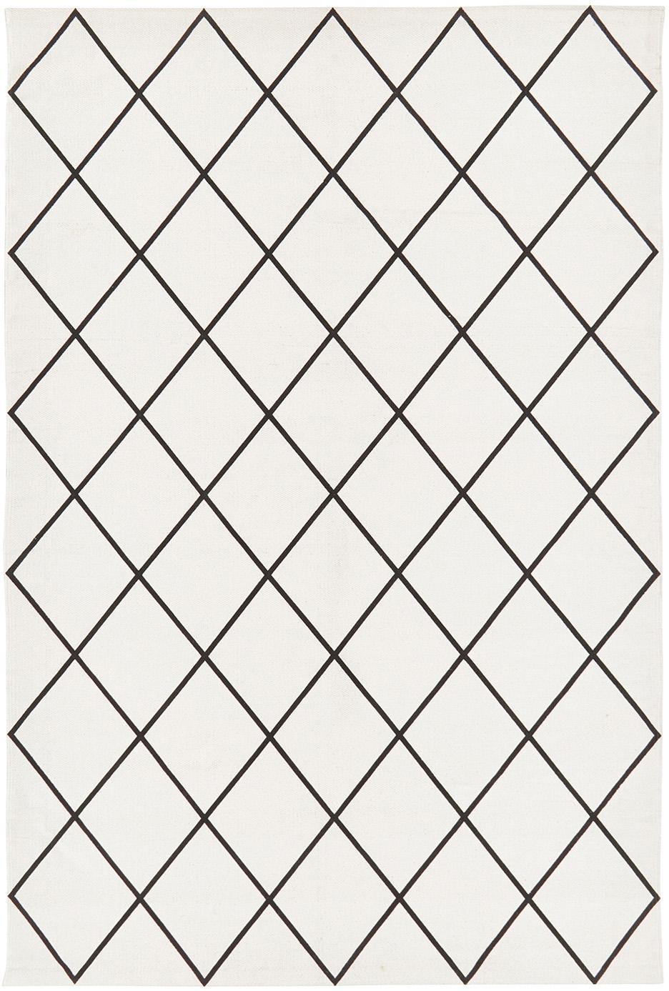 Flachgewebter Baumwollteppich Farah mit Rautenmuster, 100% Baumwolle, Cremeweiß, Schwarz, B 120 x L 180 cm (Größe S)