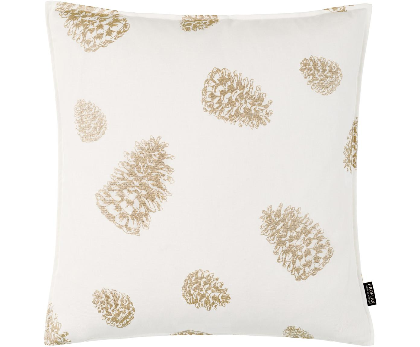 Kissenhülle Edvin, Baumwolle, Weiß, Hellbeige, Goldfarben, 40 x 40 cm