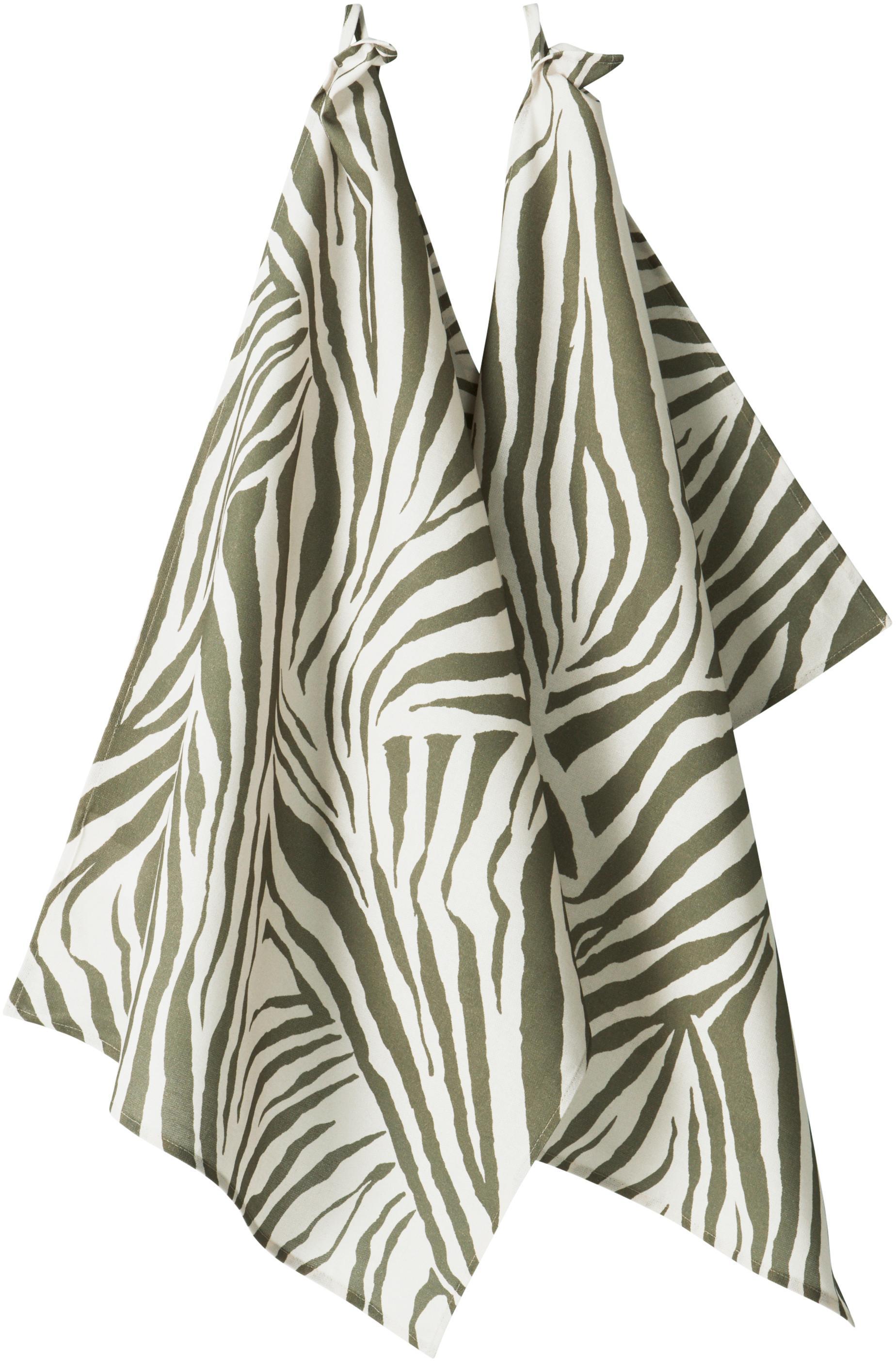 Ręcznik kuchenny Zadie, 2 szt., 100% bawełna pochodząca ze zrównoważonych upraw, Oliwkowy zielony, kremowobiały, S 50 x D 70 cm