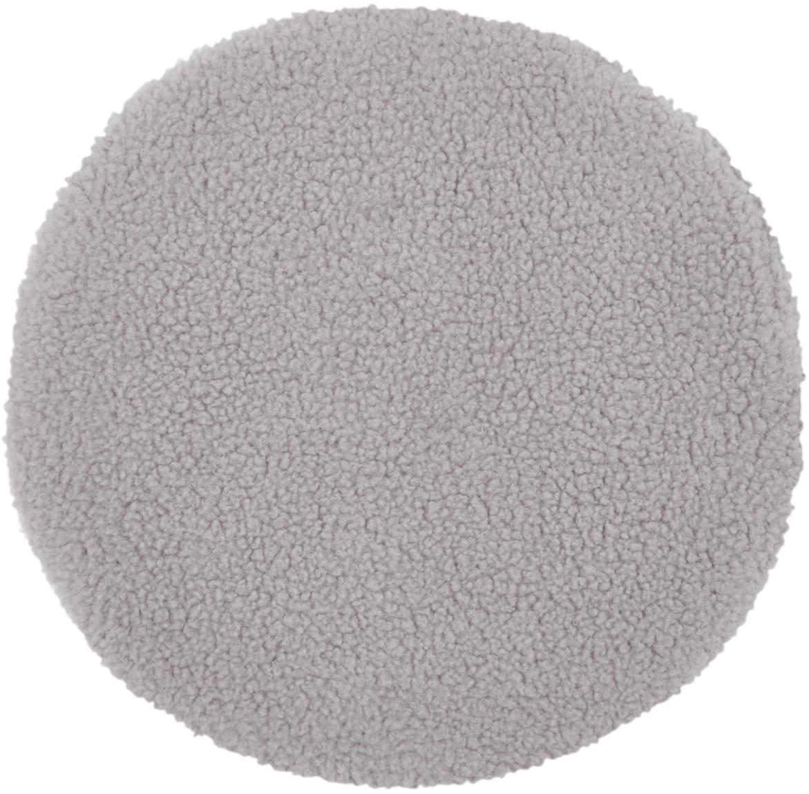 Runde Teddy-Sitzauflage Mille, Vorderseite: 100% Polyester (Teddyfell, Rückseite: 100% Polyester, Hellgrau, Ø 37 cm