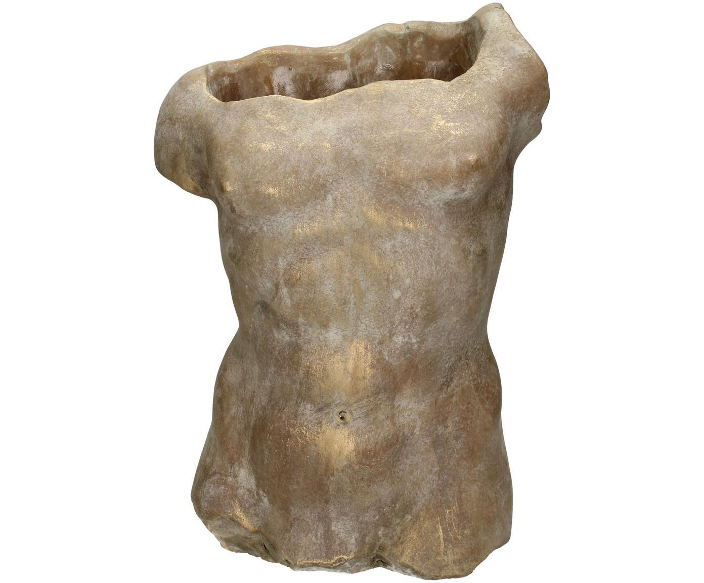 Portavaso Torso, Cemento, Dorato, Larg. 21 x Alt. 29 cm