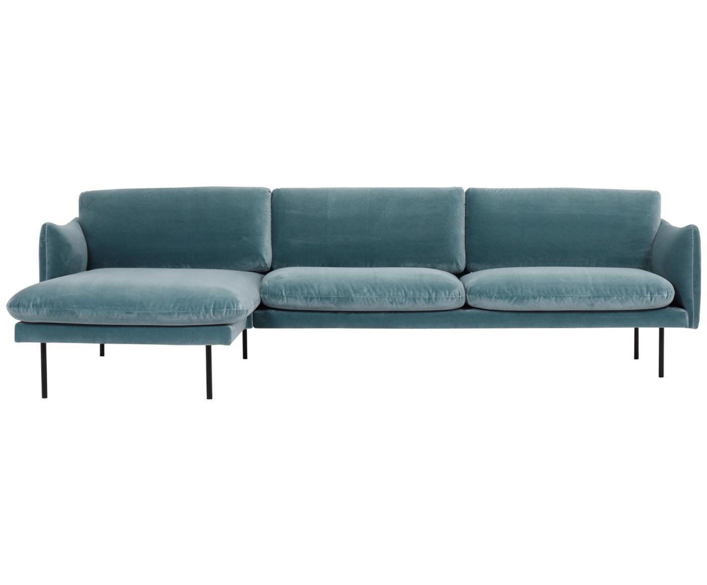 Sofa narożna z aksamitu Moby, Tapicerka: aksamit (wysokiej jakości, Stelaż: lite drewno sosnowe, Nogi: metal malowany proszkowo, Turkusowy, S 280 x G 160 cm