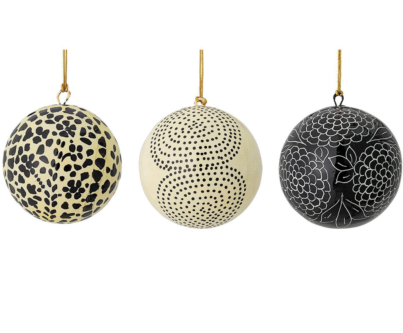 Handgemaakte kerstballenset Mech, 3-delig, Papiermaché, Beige, zwart, Ø 8 cm