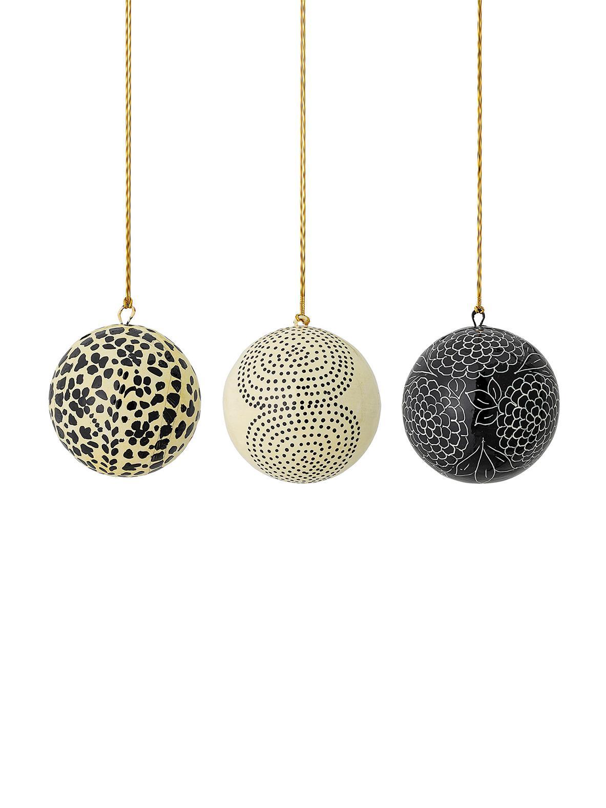 Set de bolas de Navidad artesanales Mech, Ø8cm, 3pzas., Papel maché, Beige, negro, Ø 8 cm