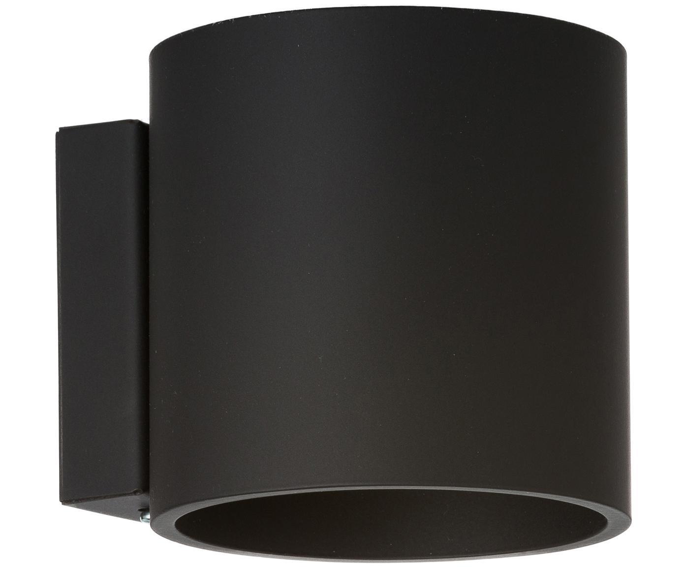 Wandleuchte Roda in Schwarz, Aluminium, pulverbeschichtet, Schwarz, 10 x 10 cm