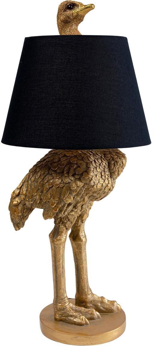 Grosse handgefertigte Tischlampe Ostrich, Lampenschirm: Baumwolle, Hanf, Messingfarben, Ø 30 x H 69 cm