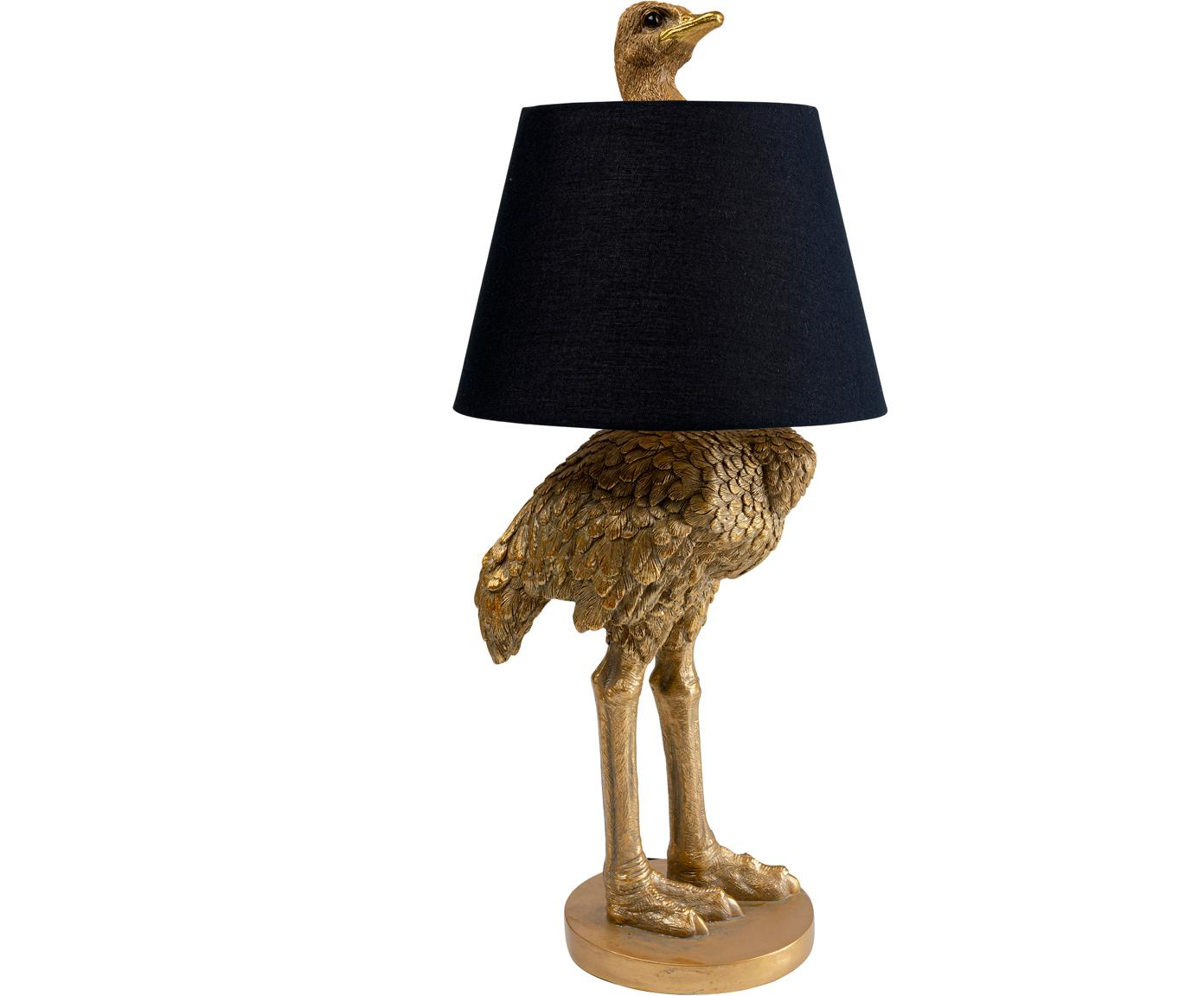 Große handgefertigte Tischleuchte Ostrich, Gestell: Polyresin, Lampenschirm: Baumwolle, Hanf, Messingfarben, Ø 30 x H 69 cm