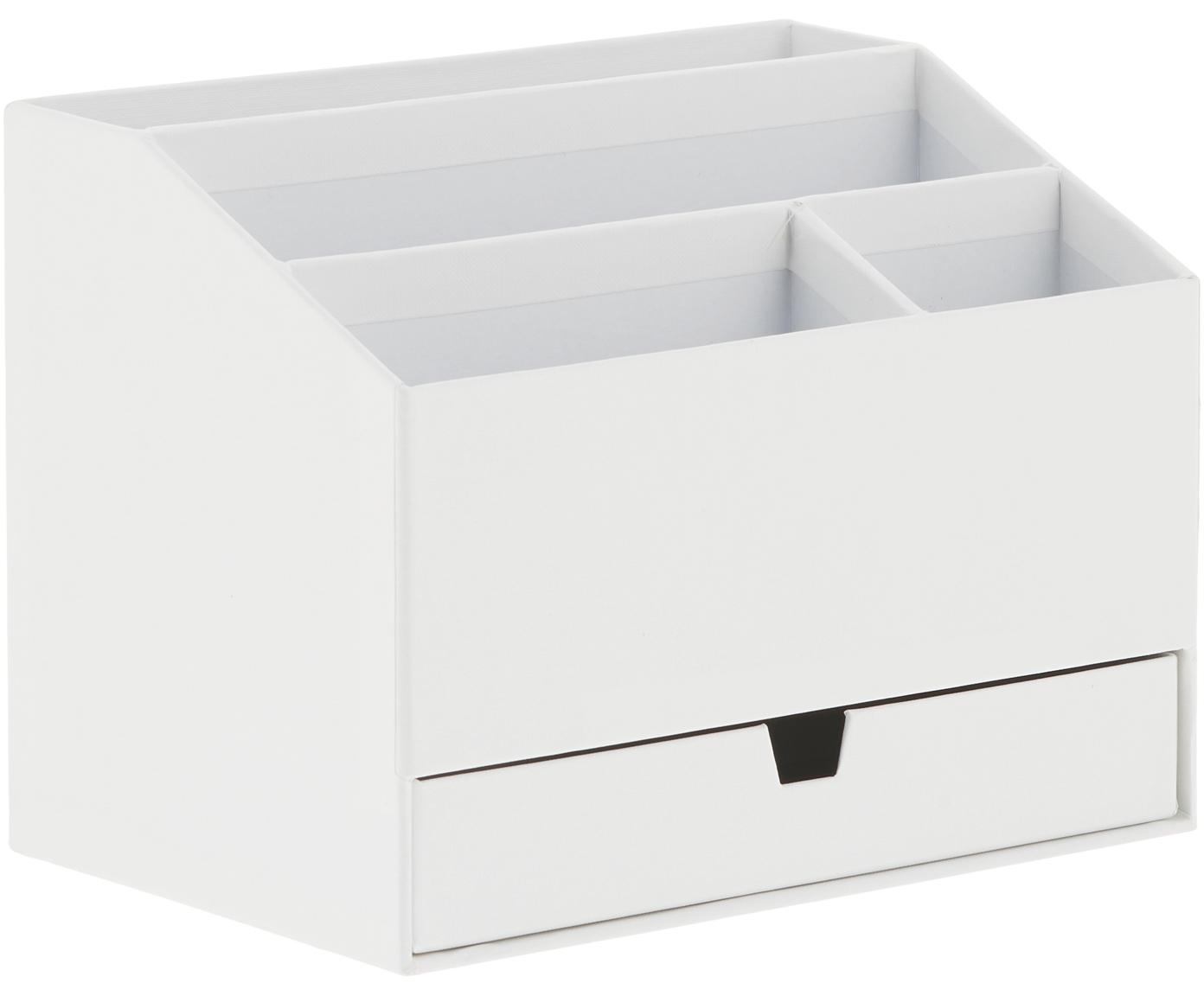 Bureau organizer Greta, Massief, gelamineerd karton, Wit, 24 x 18 cm