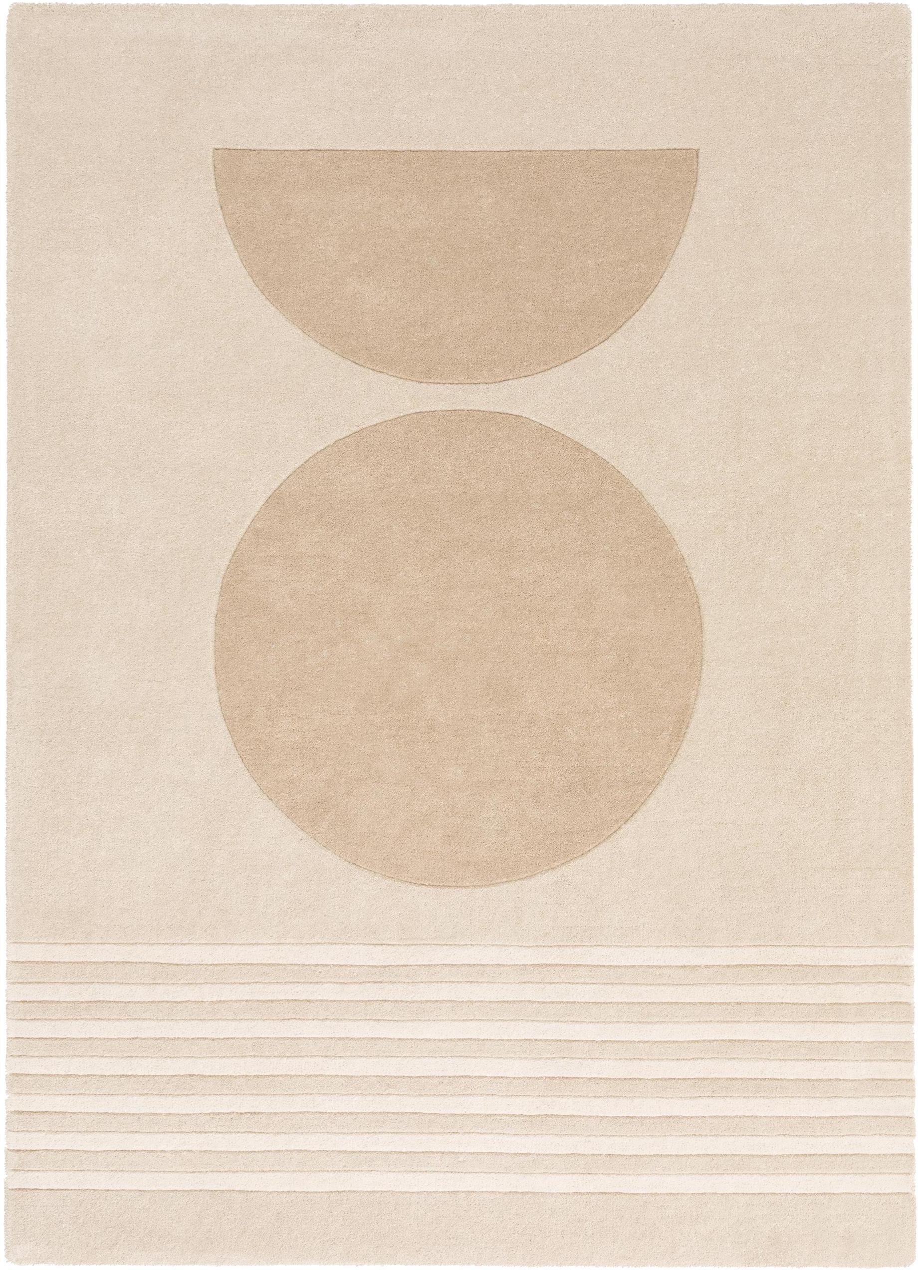 Handgetuft wollen vloerkleed Bent, Bovenzijde: wol, Onderzijde: katoen, Beige, crèmekleurig, B 140 x L 200 cm (maat S)