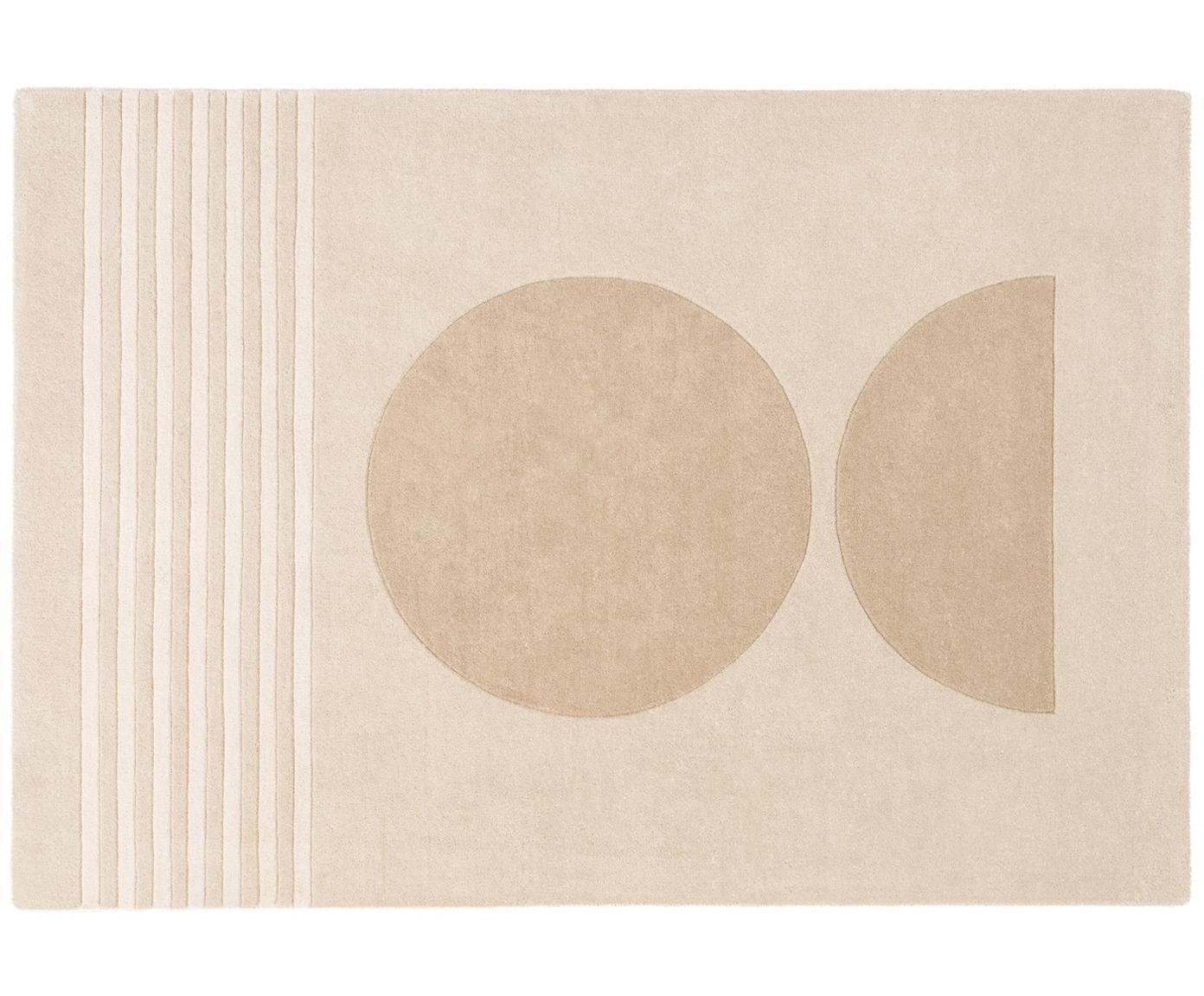 Alfombra artesanal de lana Bent, Parte superior: 100%lana, Reverso: algodón, Beige, crema, An 140 x L 200 cm (Tamaño S)