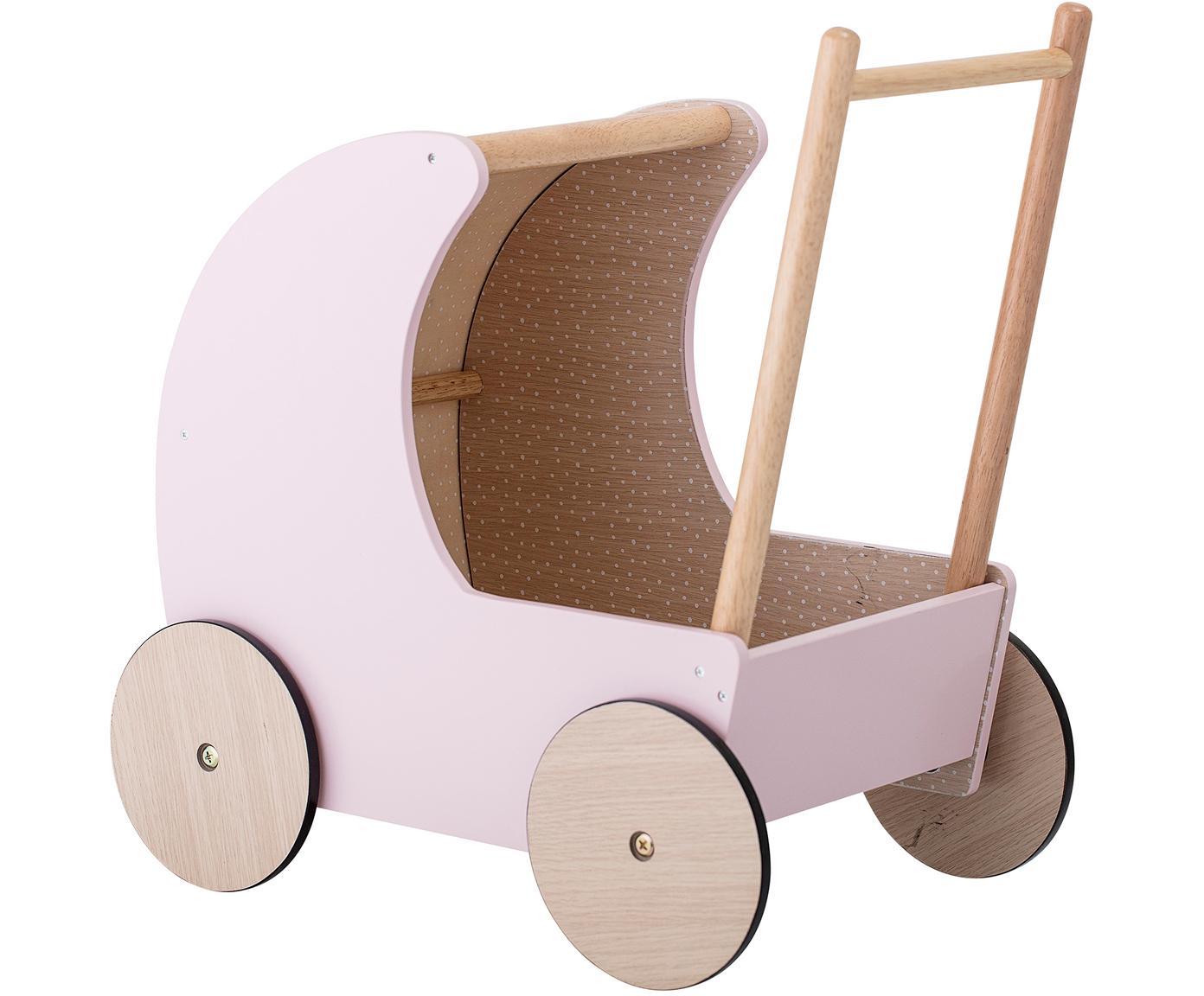 Carrito para muñecas Walk, Tablero de fibras de densidad media (MDF), madera de caucho, Rosa, An 25 x Al 40 cm