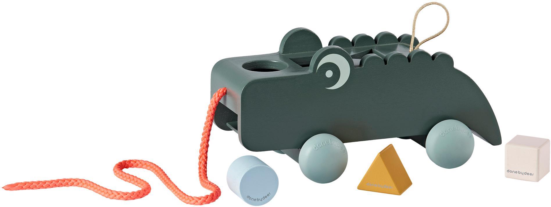Giocattolo da tirare Croco, Ruote: plastica (TPE), Verde, Larg. 25 x Alt. 12 cm