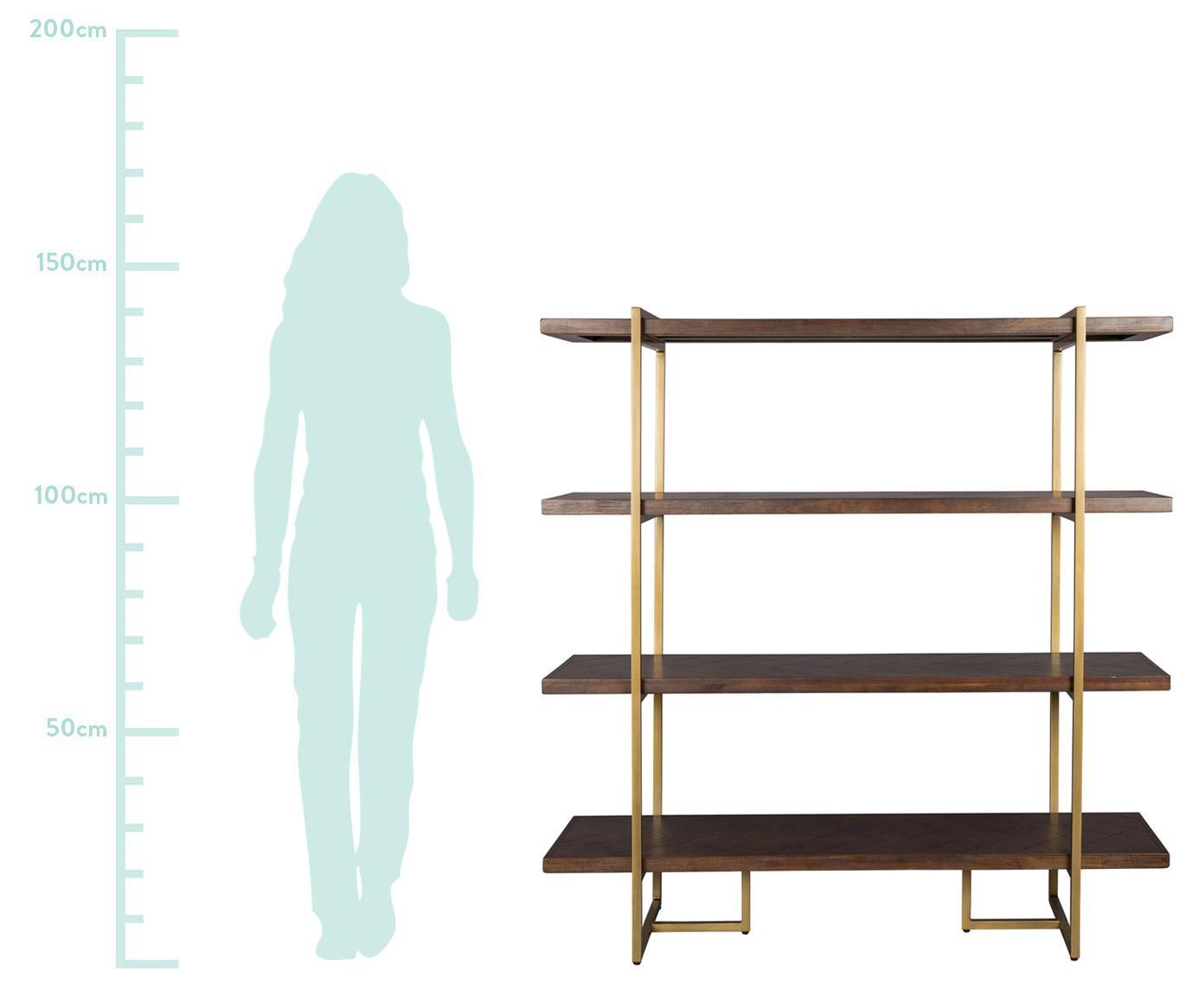 Fischgrät-Regal Class mit Akazienholzfurnier, Gestell: Metall, pulverbeschichtet, Regalbretter: Mitteldichte Holzfaserpla, Regalbretter: AkazieGestell: Altmessigfarben, 140 x 146 cm