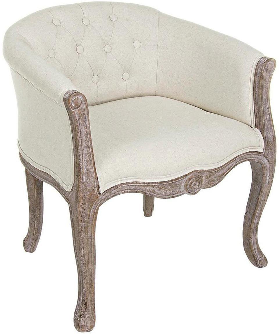Sillón Diva, Estructura: madera de caucho, Asiento: algodón, lino, Crudo, beige, An 60 x Al 75 cm