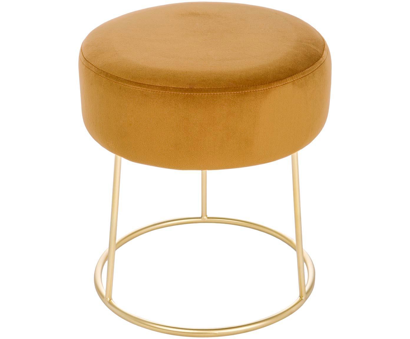 Taburete redondo de terciopelo Clarissa, Tapizado: 100%terciopelo de poliés, Estructura: tablero de densidad media, Amarillo, dorado, Ø 35 x Al 40 cm