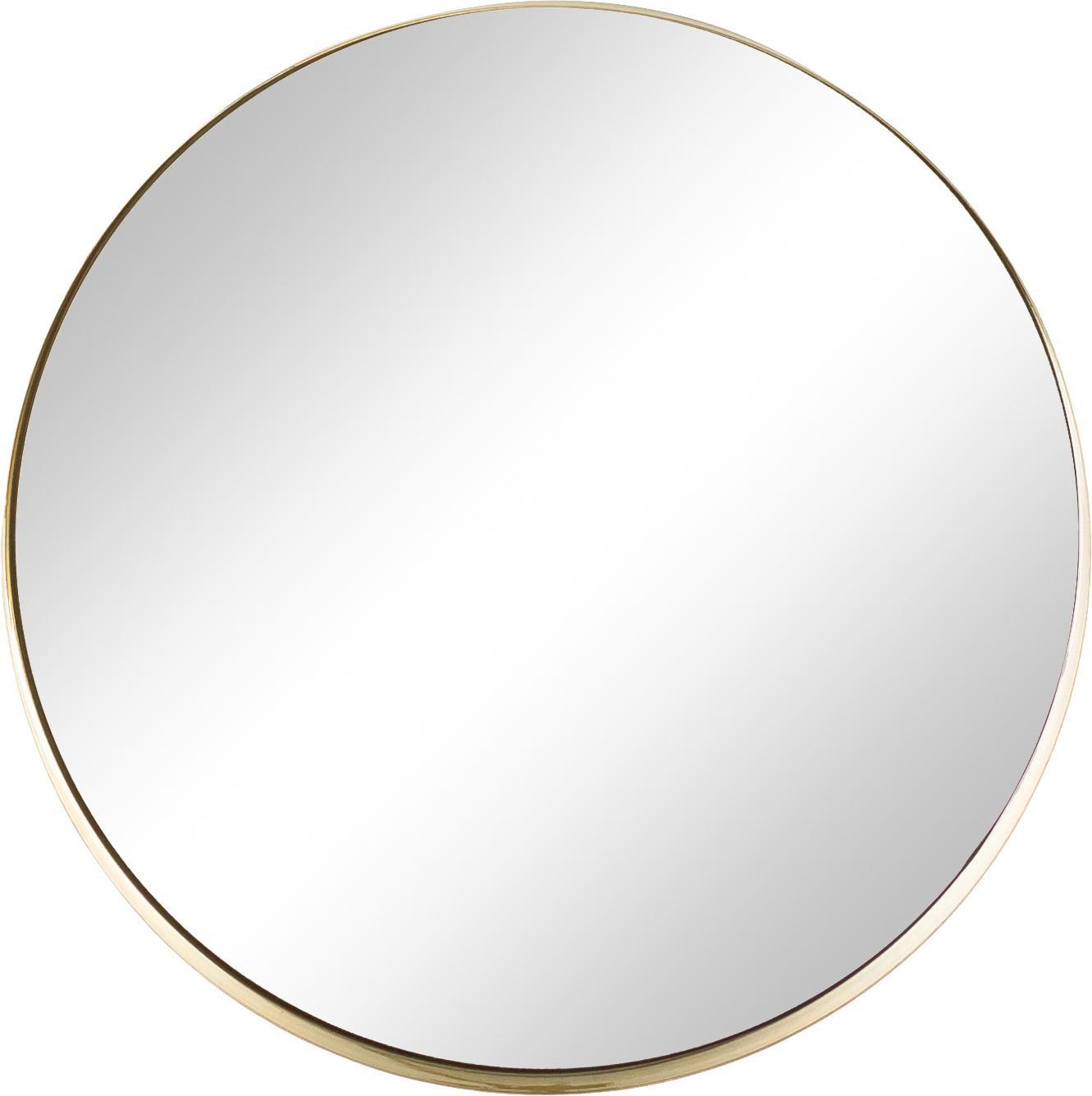 Ronde wandspiegel Metal met goudkleurige lijst, Lijst: gelakt metaal, met bewust, Lijst: goudkleurig. Spiegelglas, Ø 43 cm