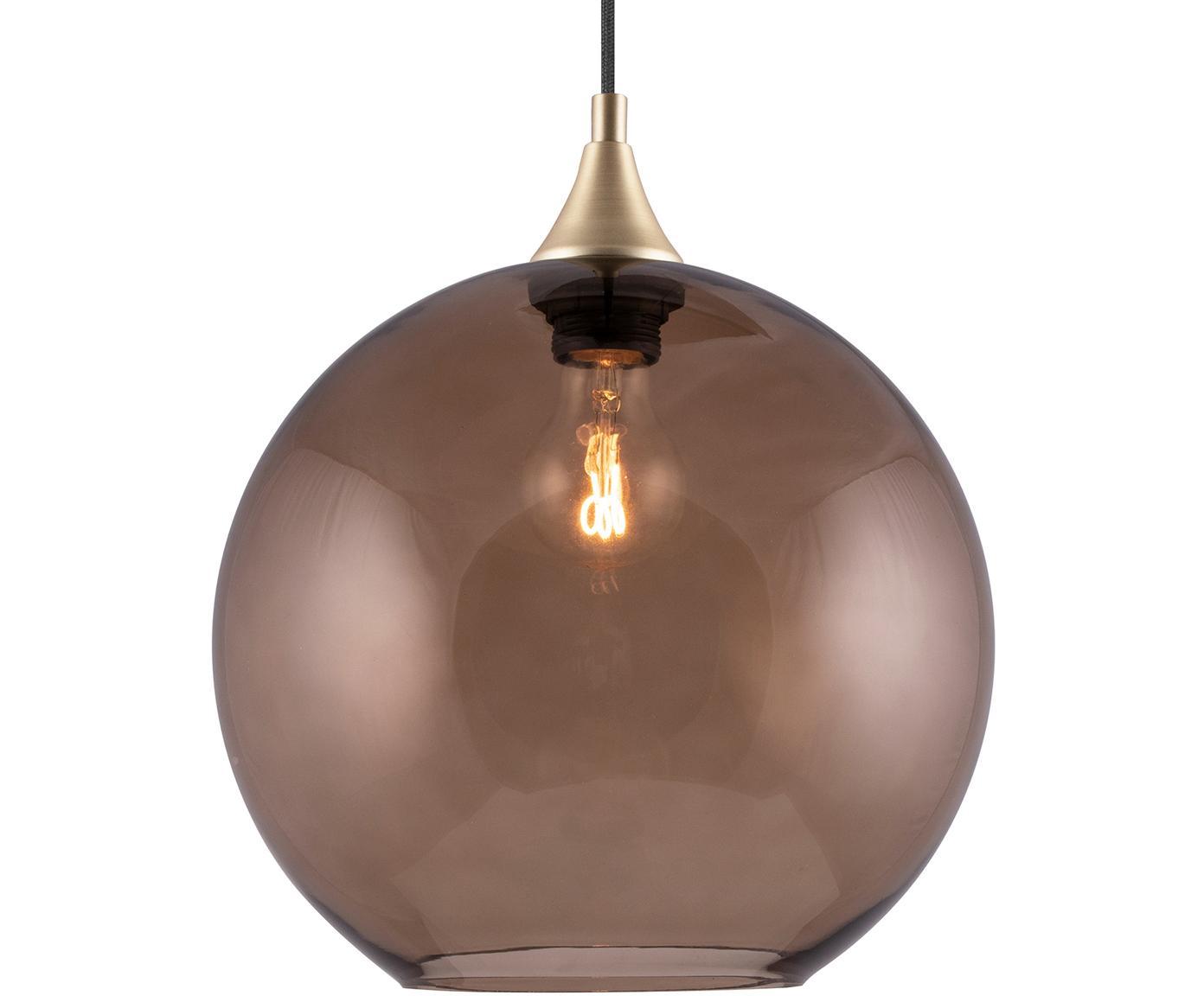 Kugel-Pendelleuchte Bowl aus Glas, Glas, Metall, Braun, transparent, Ø 28 x H 32 cm