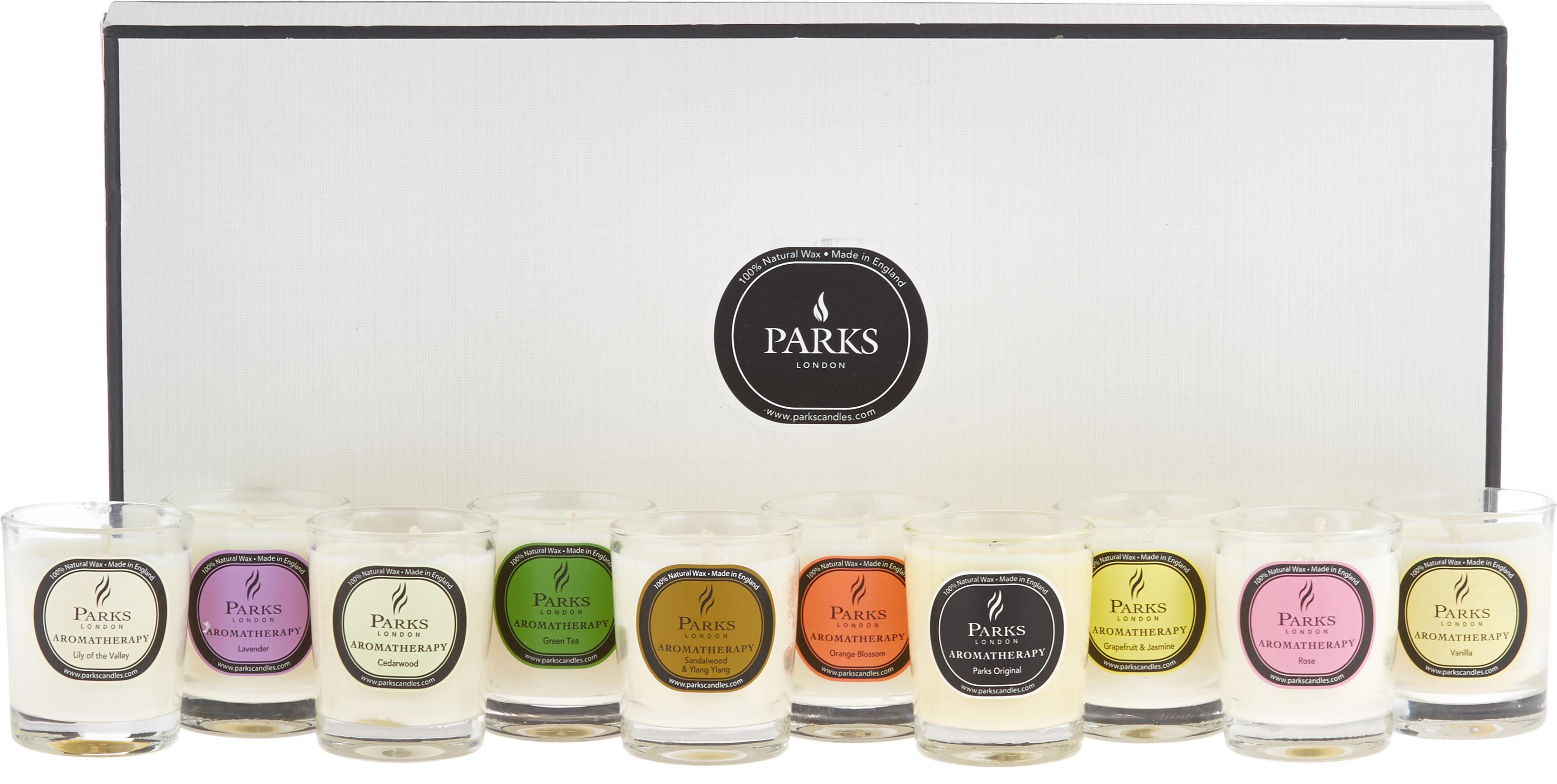 Duftkerzen-Set Aromatherapy, 10-tlg., Behälter: Glas, Mehrfarbig, Ø 5 x H 6 cm