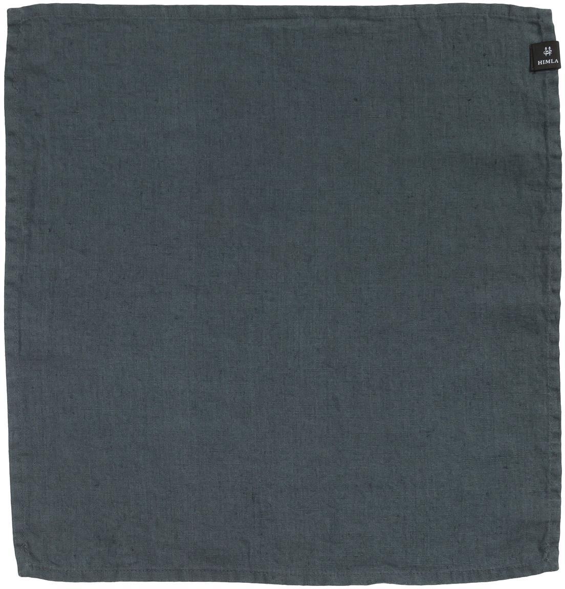 Servilletas de lino Sunshine, 4uds., Lino, Gris oscuro, L 45 x An 45 cm