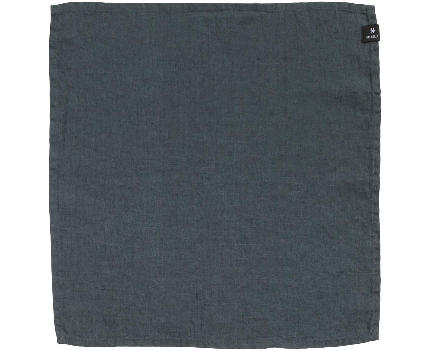 Leinen-Servietten Sunshine, 4 Stück, Leinen, Dunkelgrau, 45 x 45 cm