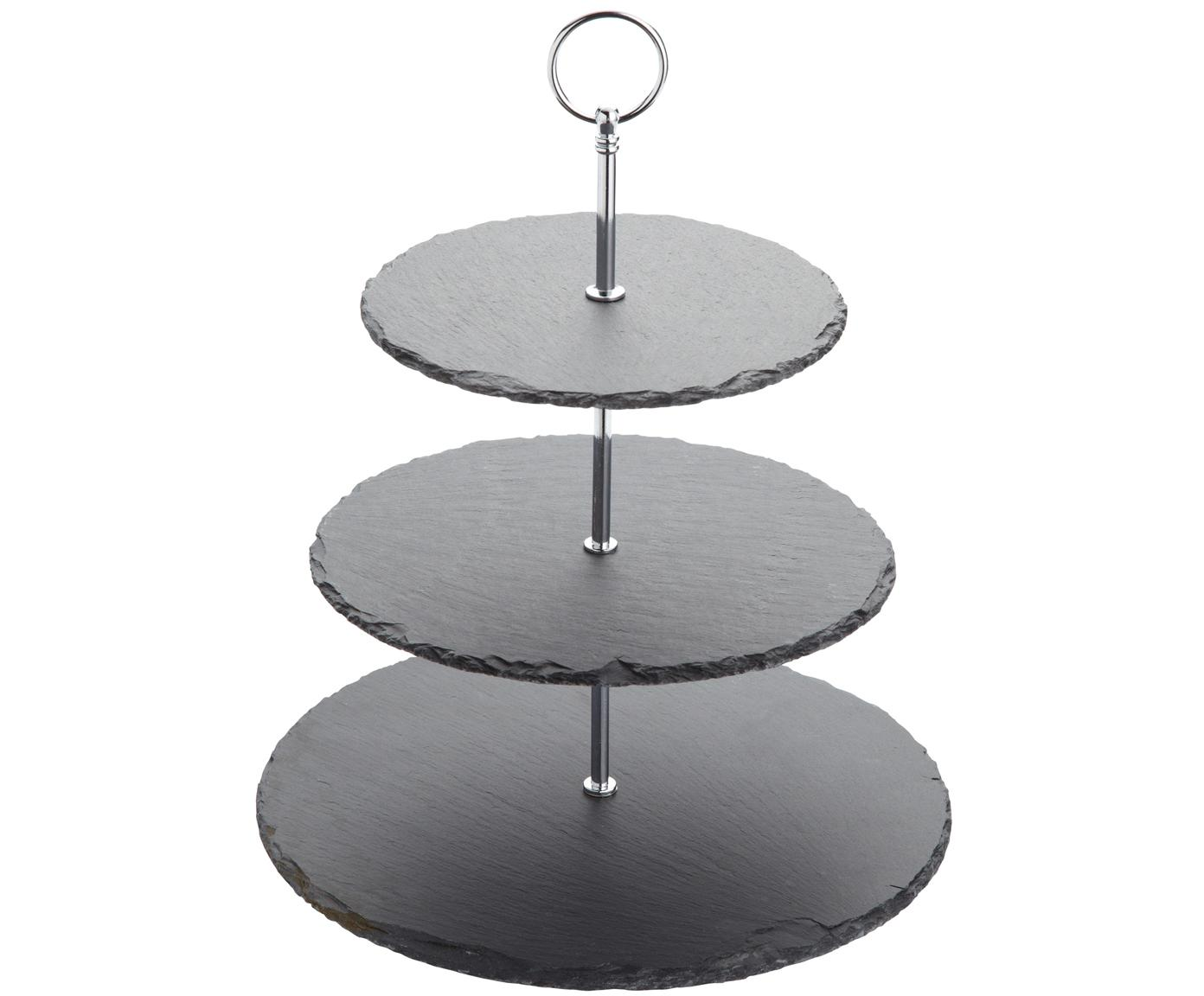 Etagere Cooper, Stange: Metall, verchromt, Schwarz, Chrom, Ø 30 x H 31 cm