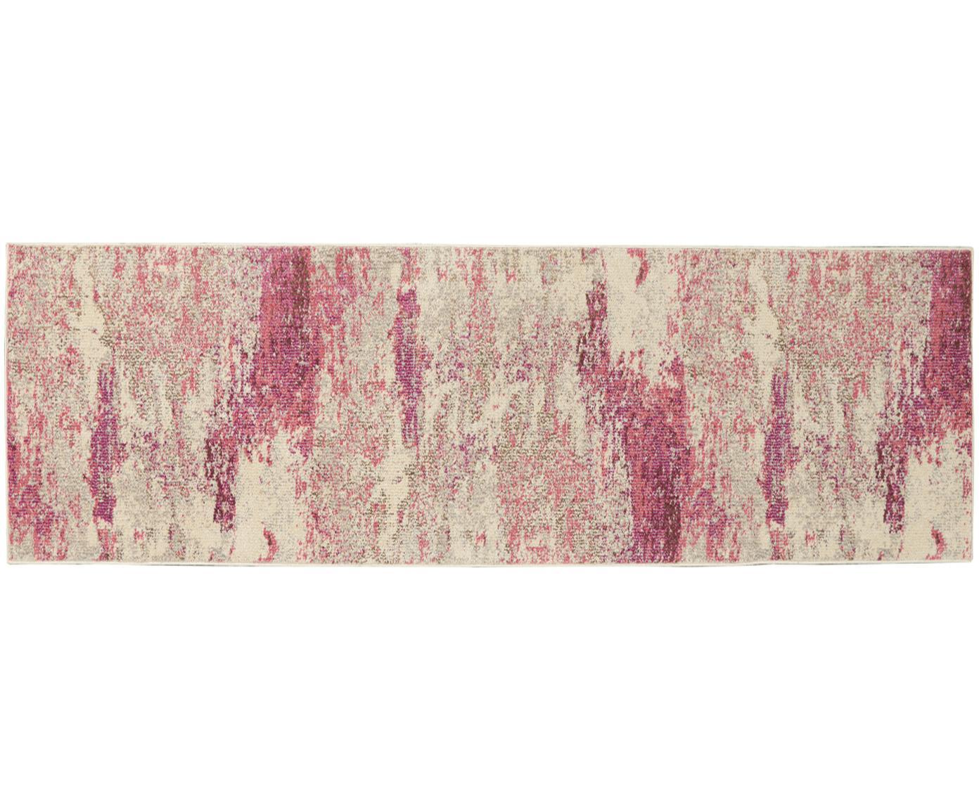 Design loper Celestial in roze-beige, Bovenzijde: polypropyleen, Onderzijde: latex, Beige, roze, 60 x 180 cm