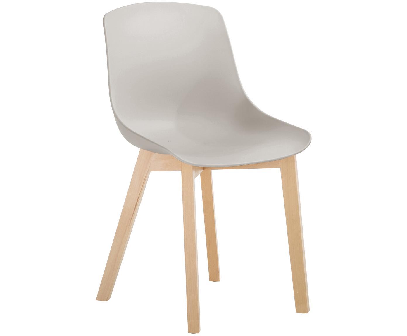 Kunststoffen stoelen Dave met houten poten, 2 stuks, Zitvlak: kunststof, Poten: beukenhout, Beigegrijs, 46 x 82 cm