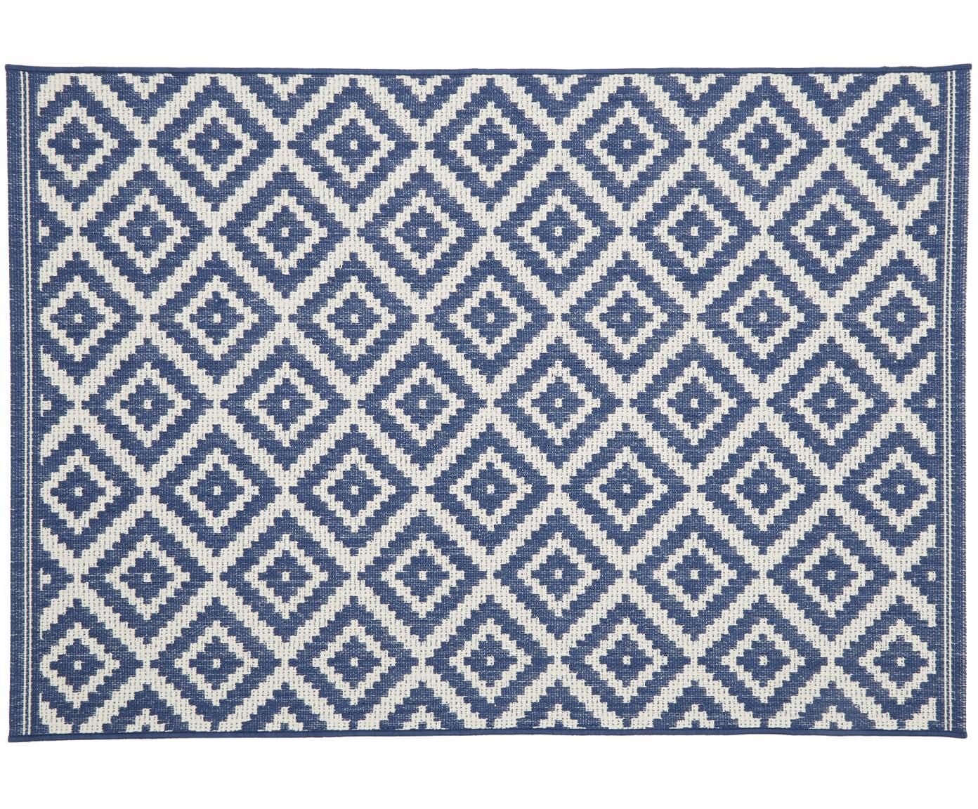In- & outdoor vloerkleed met patroon Miami in blauw/wit, Bovenzijde: polypropyleen, Onderzijde: polyester, Crèmewit, blauw, B 200 x L 290 cm (maat L)