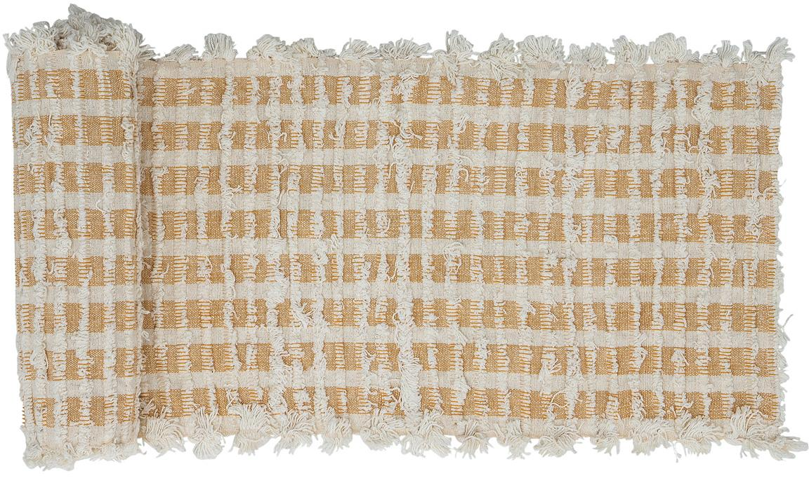 Camino de mesa Riala, 96%algodón, 4%otras fibras, Beige, crema, An 35 cm x L 180 cm