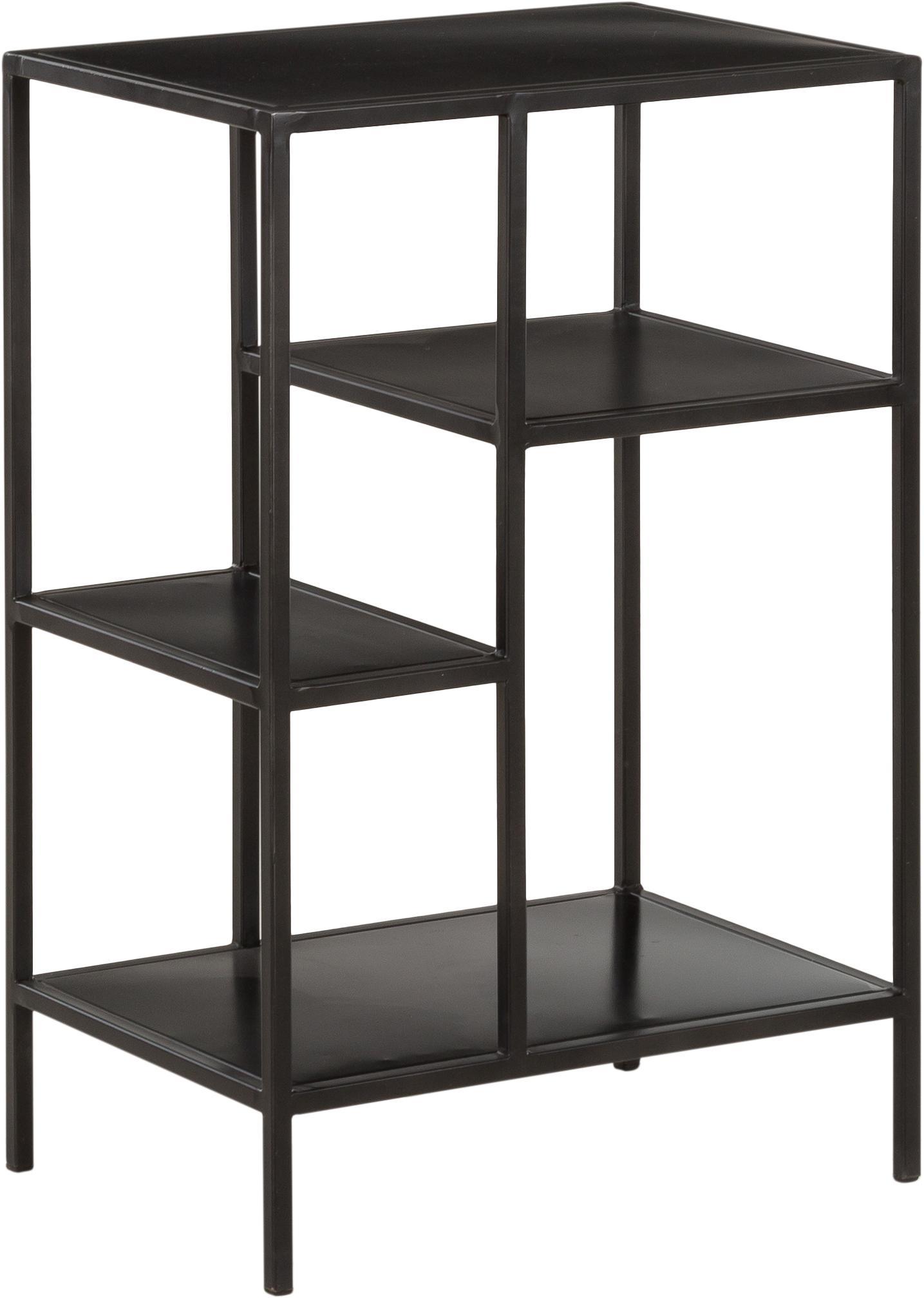 Metalen wandrek Display in zwart, Gepoedercoat metaal, Zwart, B 50 cm