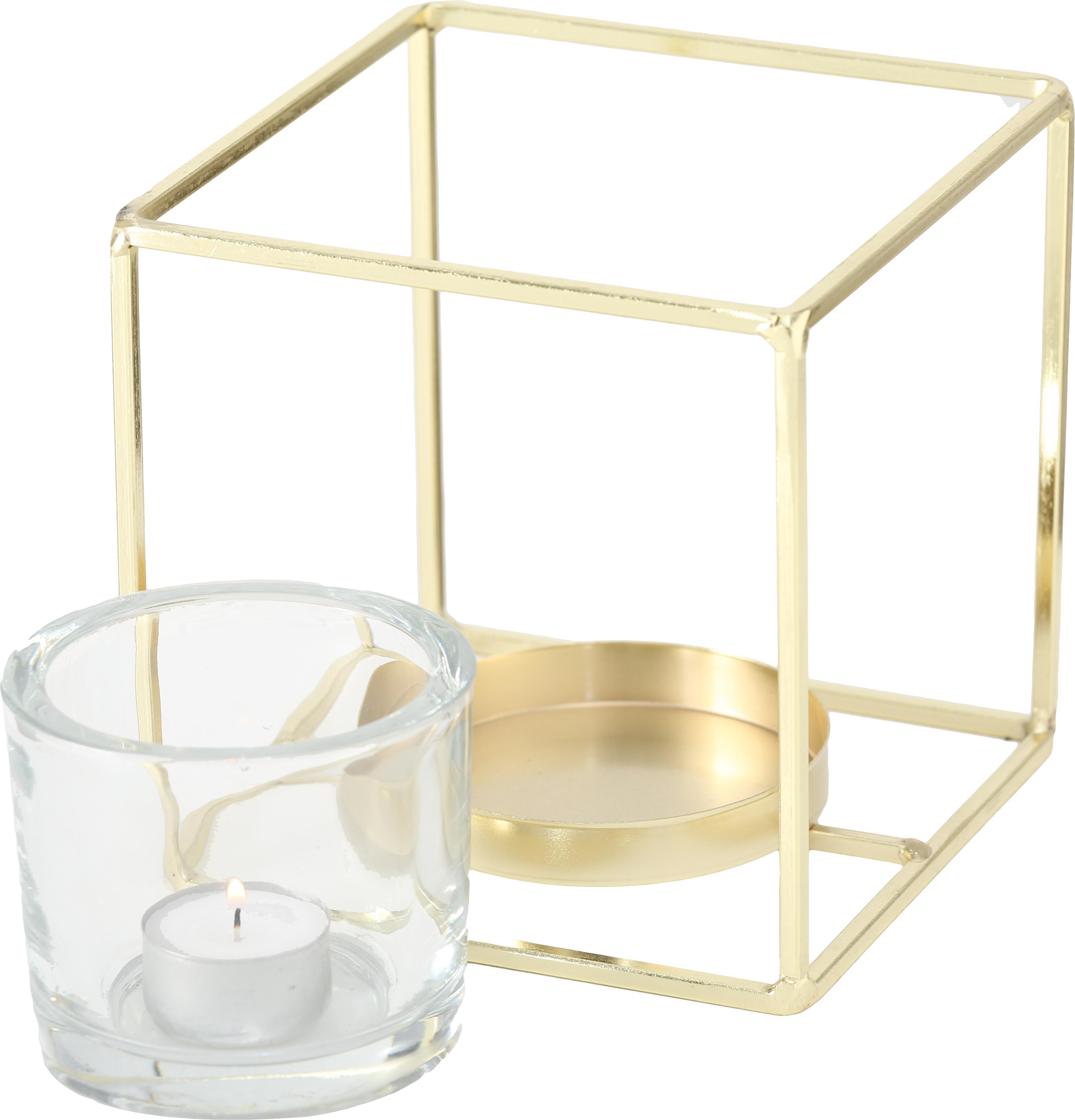 Teelichthalter-Set Pazo, 2-tlg., Windlicht: Glas, Gestell: Metall, beschichtet, Transparent, Messingfarben, Sondergrößen