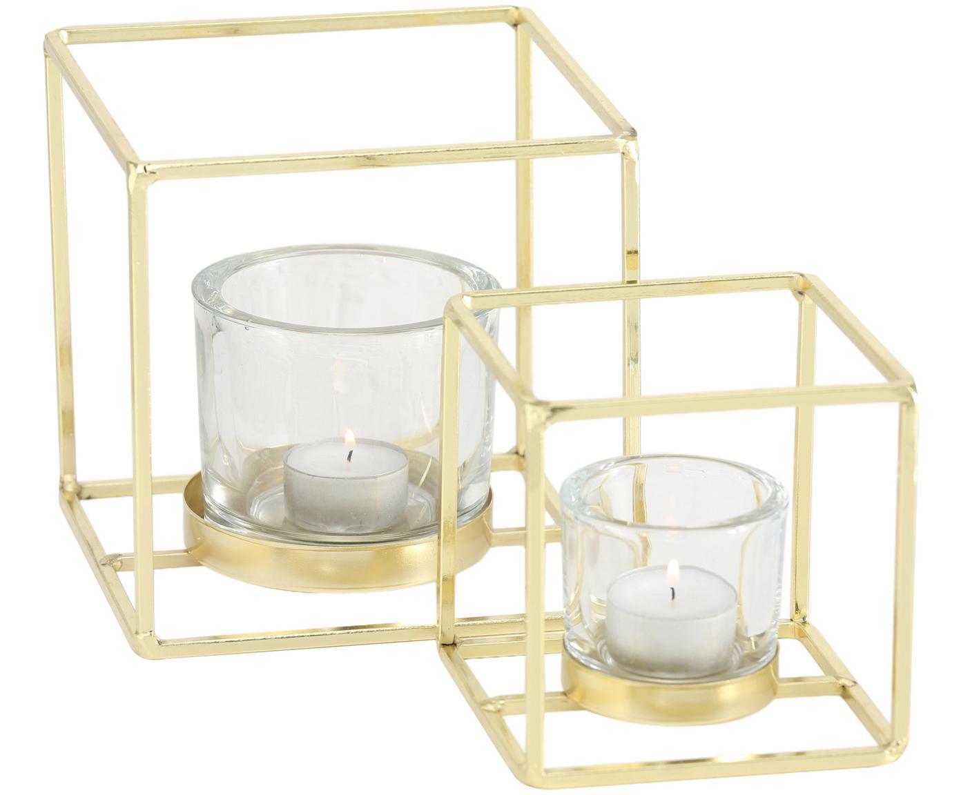 Set di 2 portacandele Pazo, Portacandela: vetro, Struttura: metallo, rivestito, Trasparente, ottonato, Diverse dimensioni