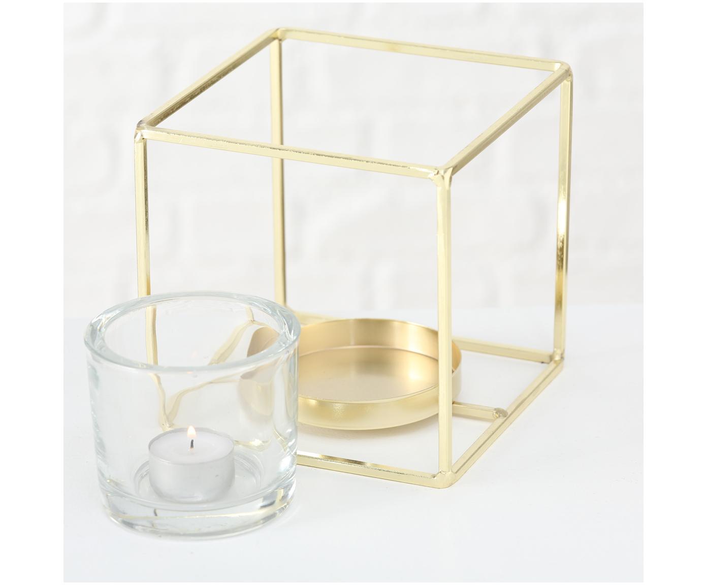 Komplet świeczników na podgrzewacze Pazo, 2elem., Stelaż: metal powlekany, Transparentny, odcienie mosiądzu, Różne rozmiary