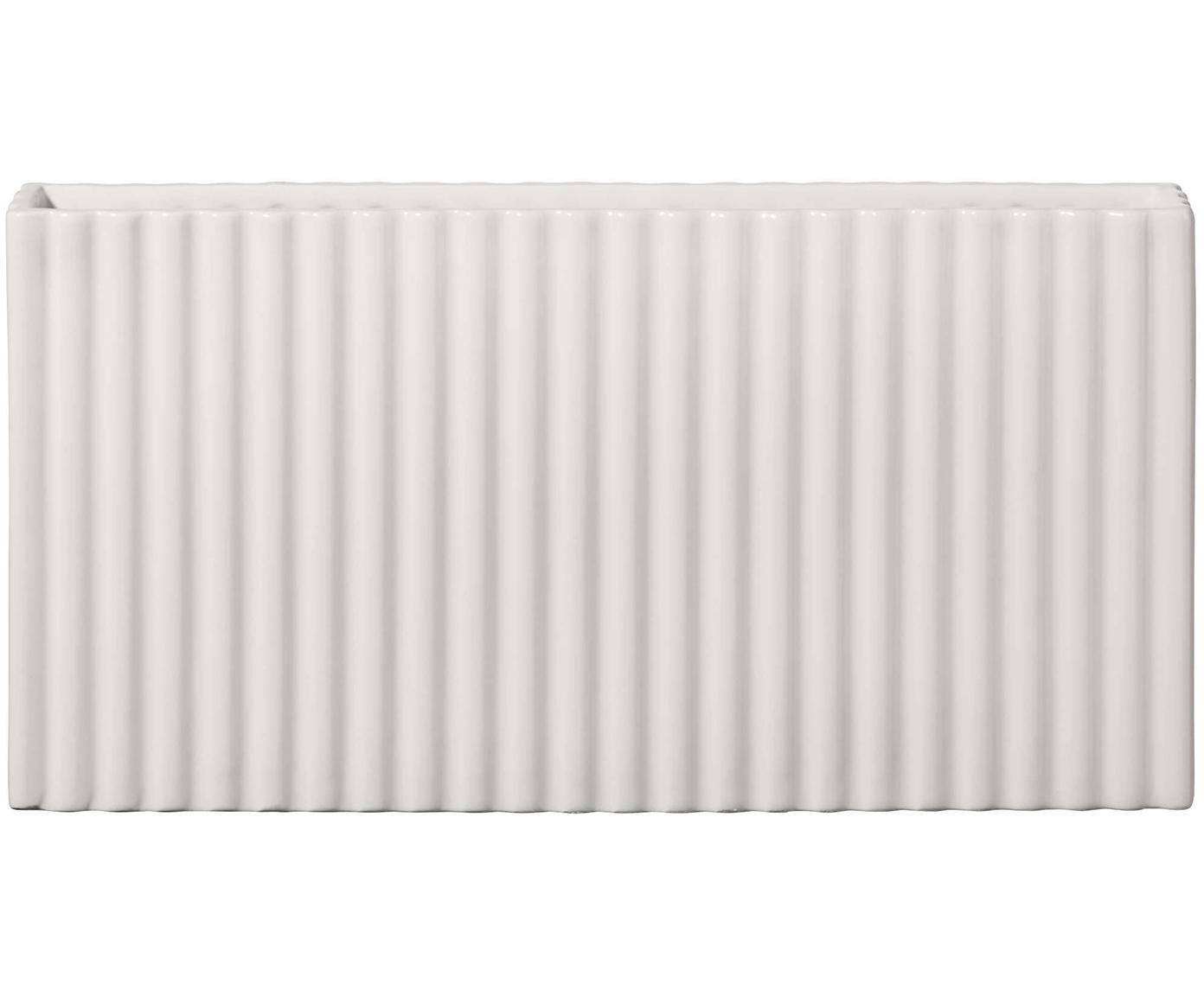 Vaso stretto in ceramica Quadro, Ceramica, Bianco, Larg. 30 x Alt. 16 cm
