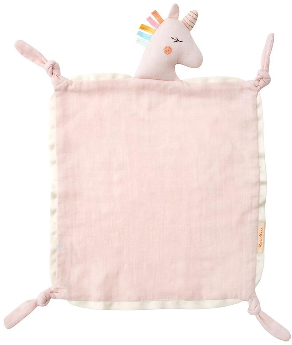Doudou in cotone organico Unicorn, Bordo: raso di cotone, Rosa, multicolore, Larg. 40 x Lung. 46 cm