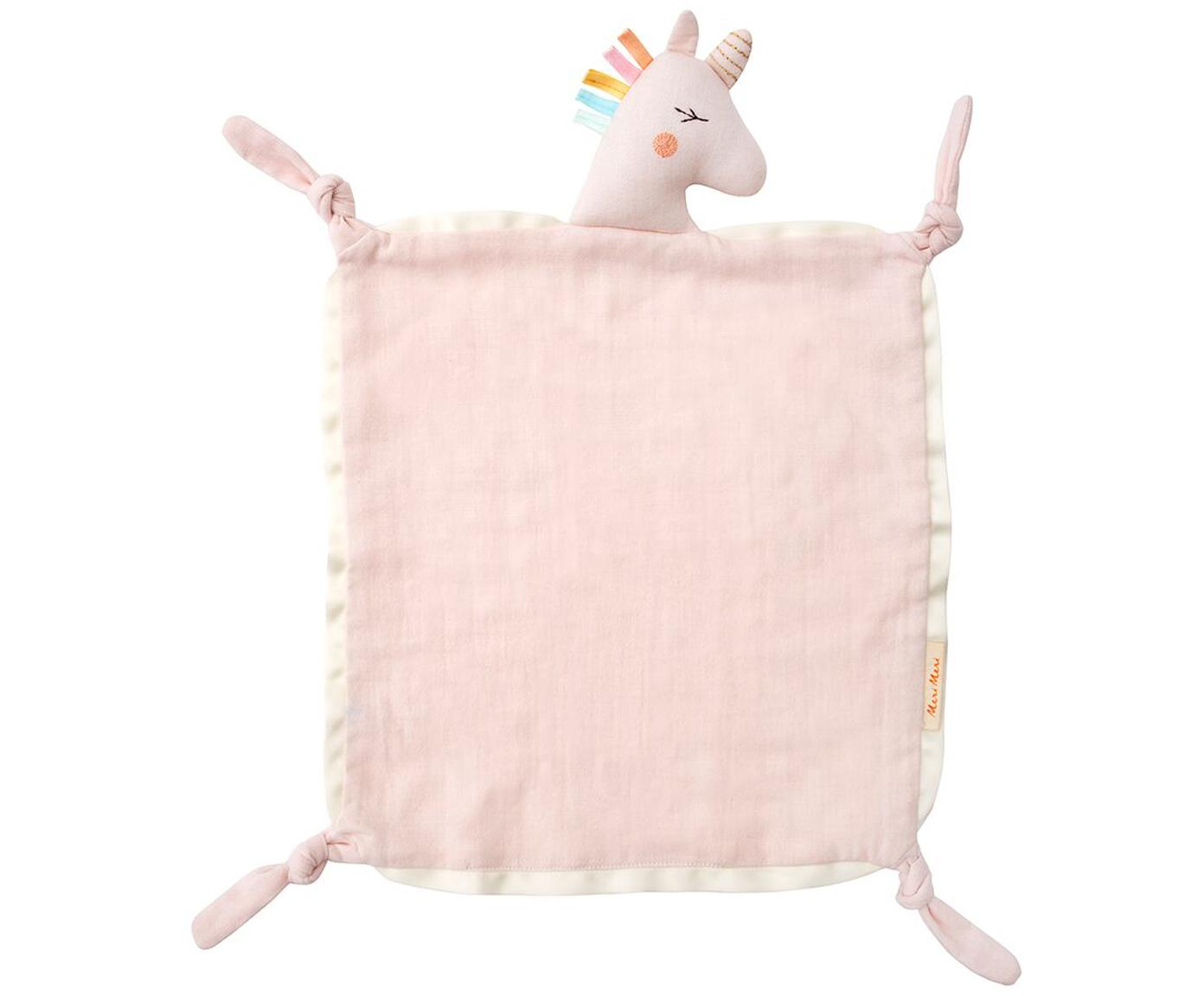 Przytulanka kocyk z bawełny organicznej Unicorn, Różowy, wielobarwny, S 40 x D 46 cm