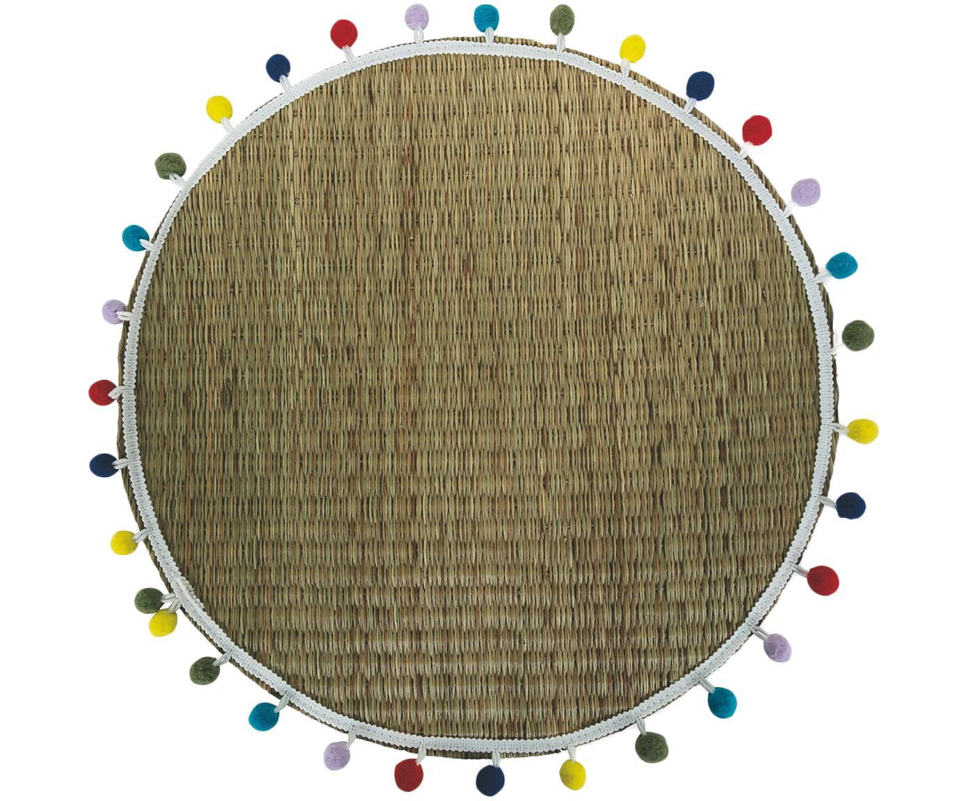 Runde Tischsets Mexico mit bunten Pompoms, 2 Stück, Raffia, Beige, Mehrfarbig, Ø 38 cm