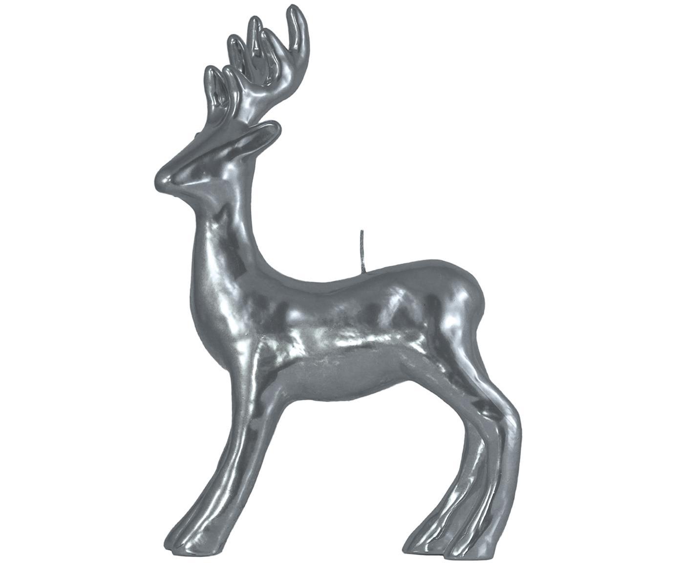 Decoratieve kaars Hert, Zilverkleurig, 22 x 34 cm
